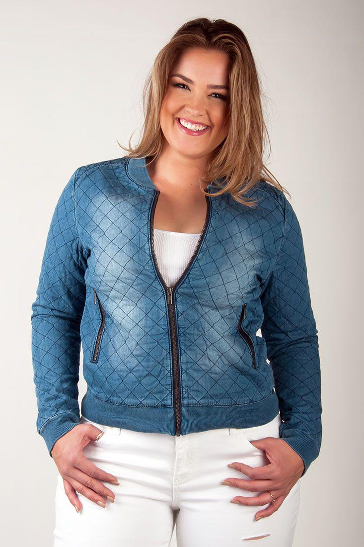 Nanci Light Washed Chambray Bomber Jacket With Quilting - SP Plus