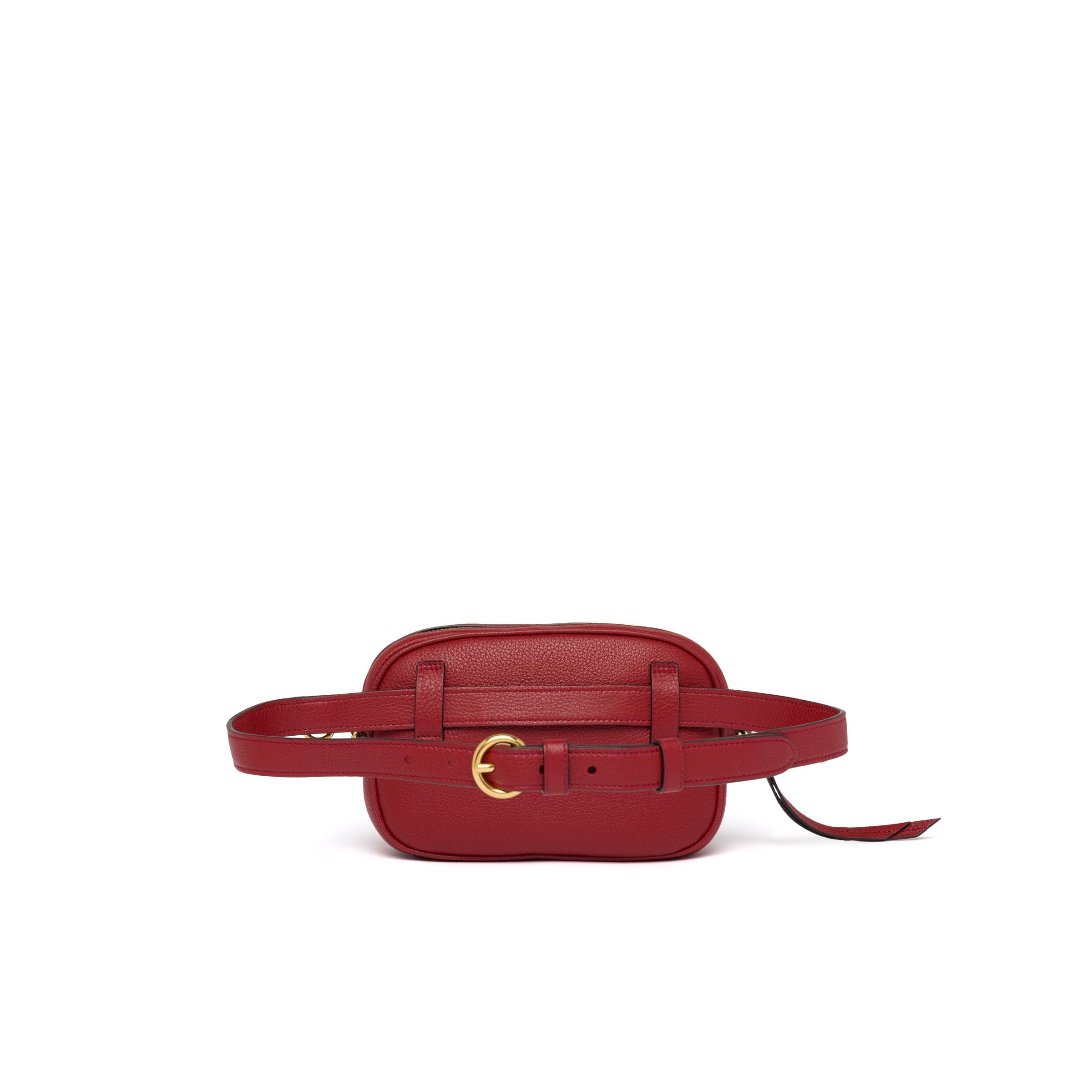 Leather Belt Bag Women Ruby Red 3