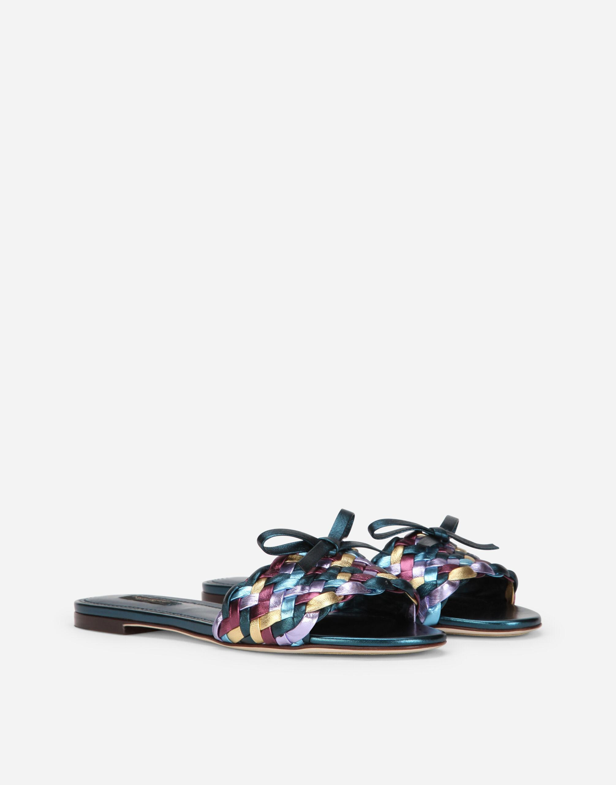 Woven laminated nappa leather sliders 1