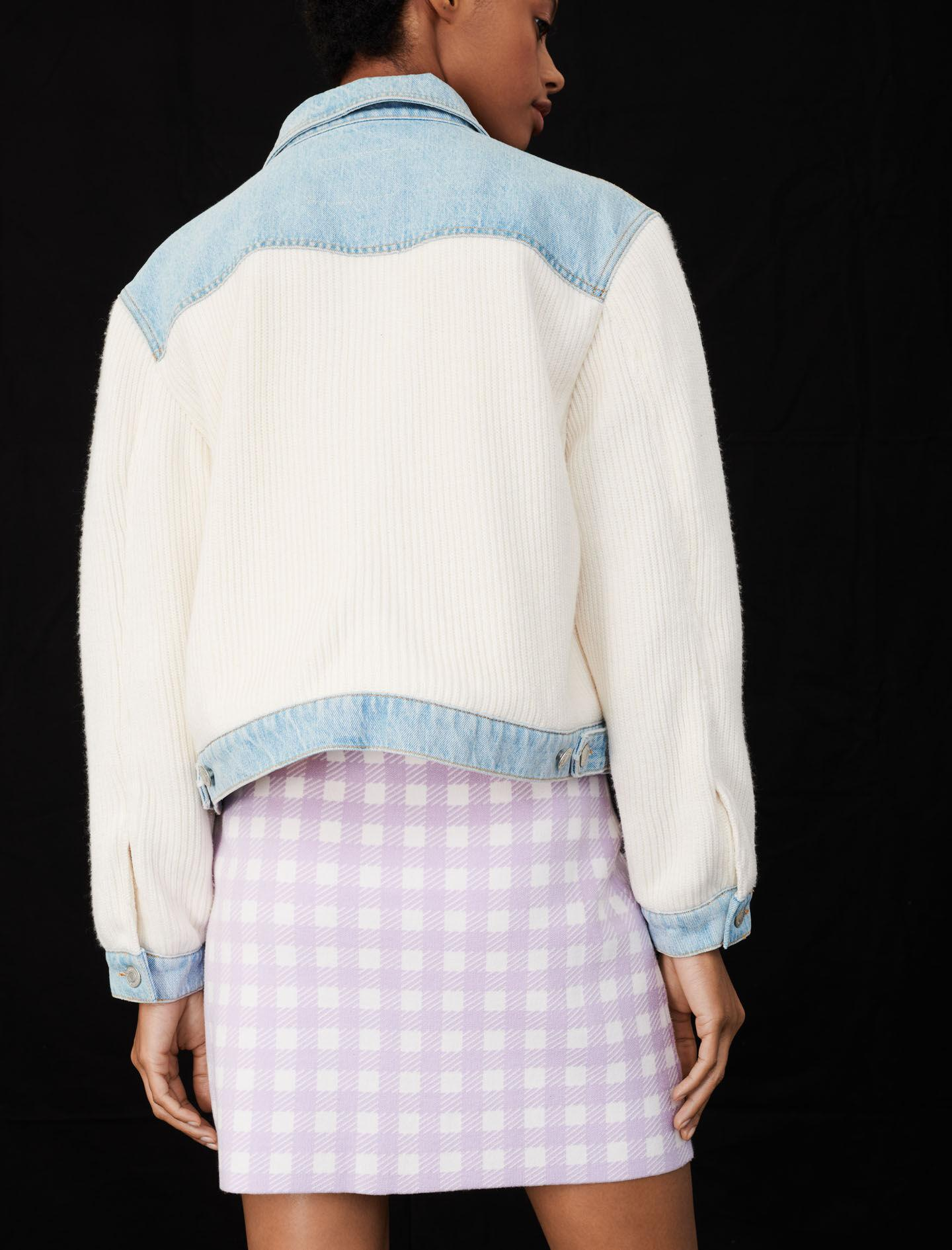 MIXED MATERIAL KNIT AND DENIM JACKET 4