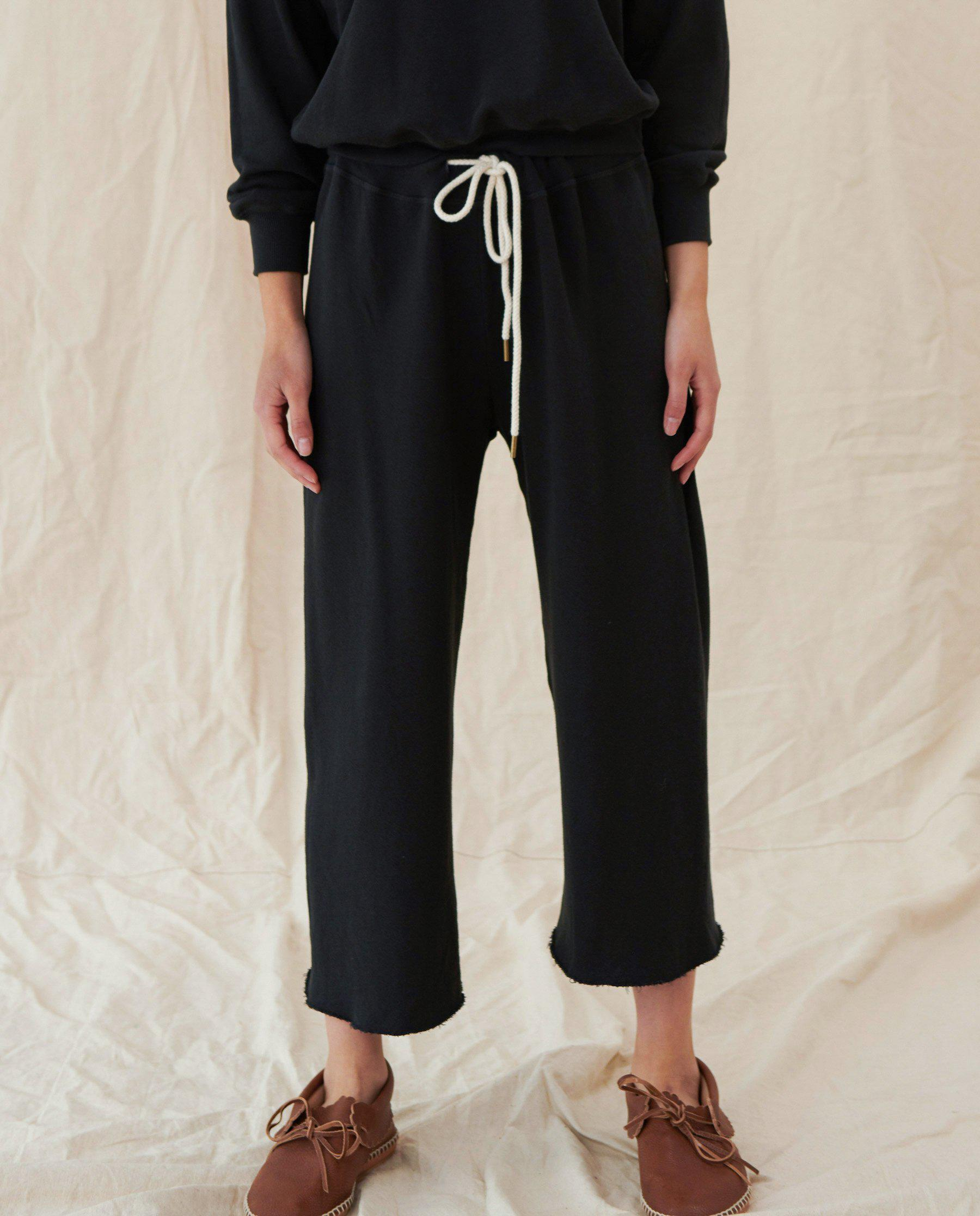 The Wide Leg Cropped Sweatpant. -- Almost Black 2