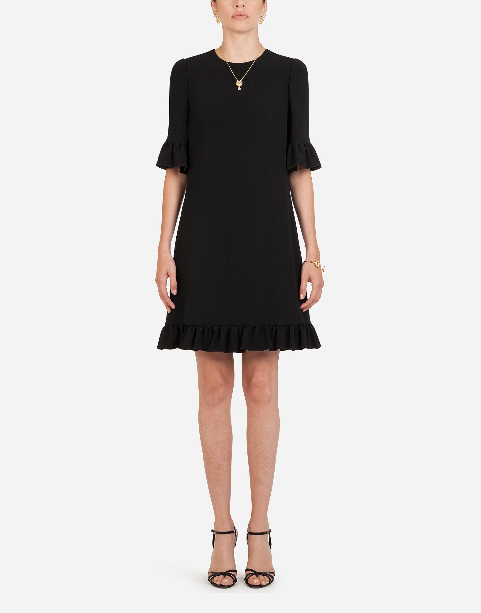 Short cady dress with ruche detailing