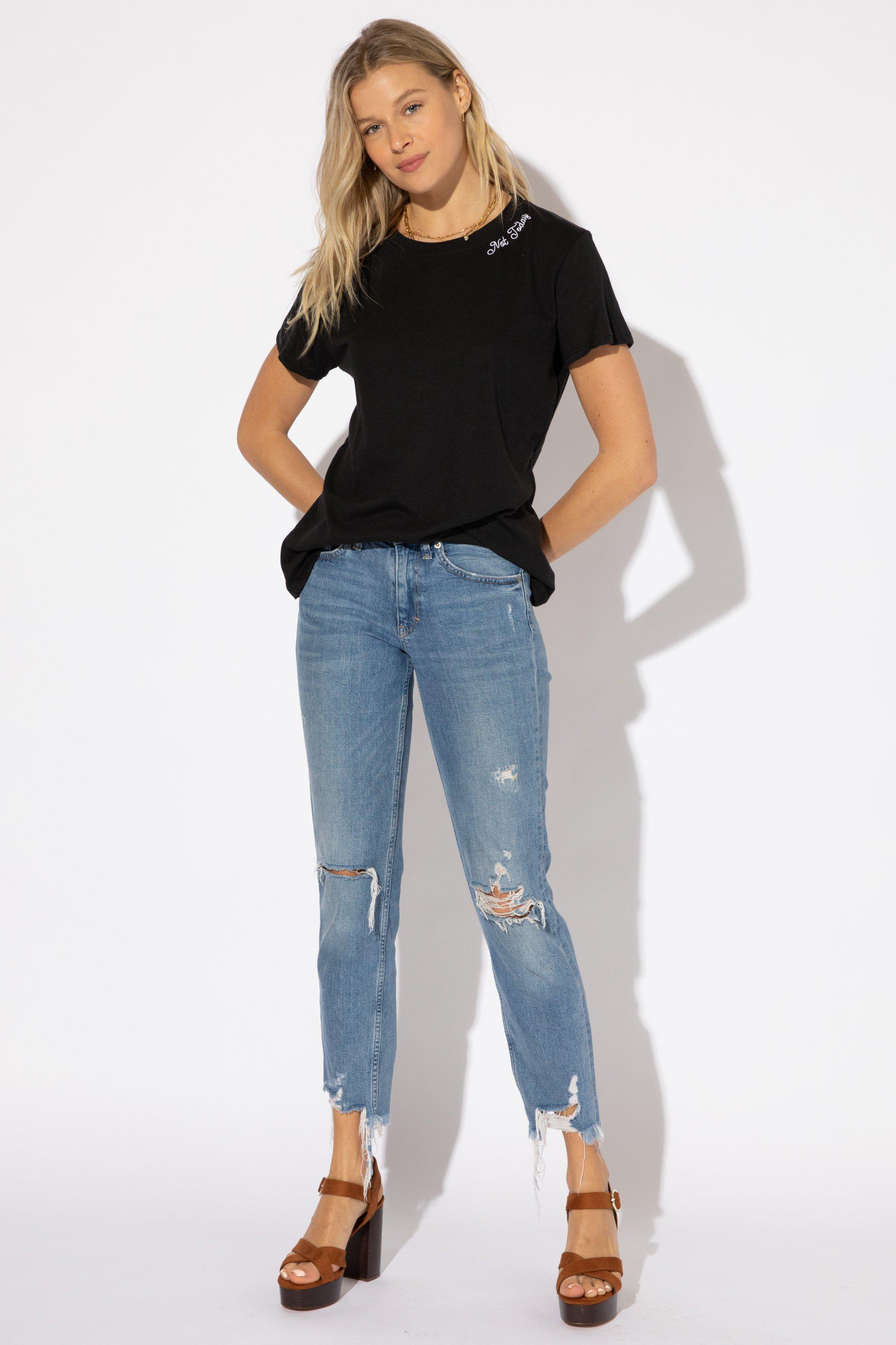 NOT TODAY EMBROIDERY LOOSE TEE 2
