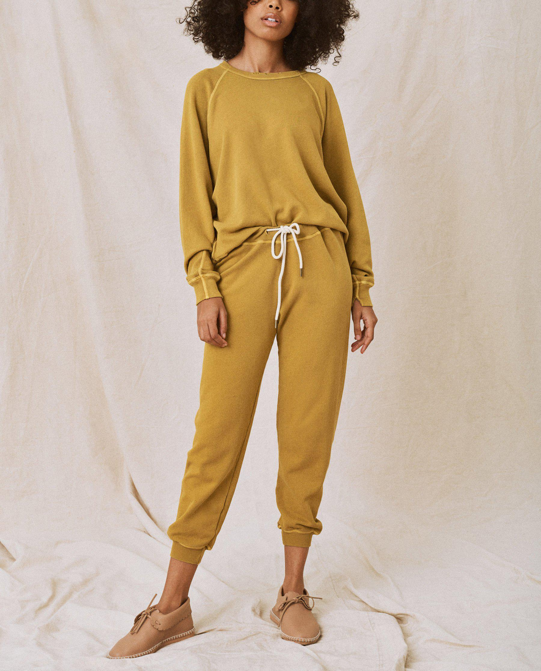 The Cropped Sweatpant. Solid -- Citron