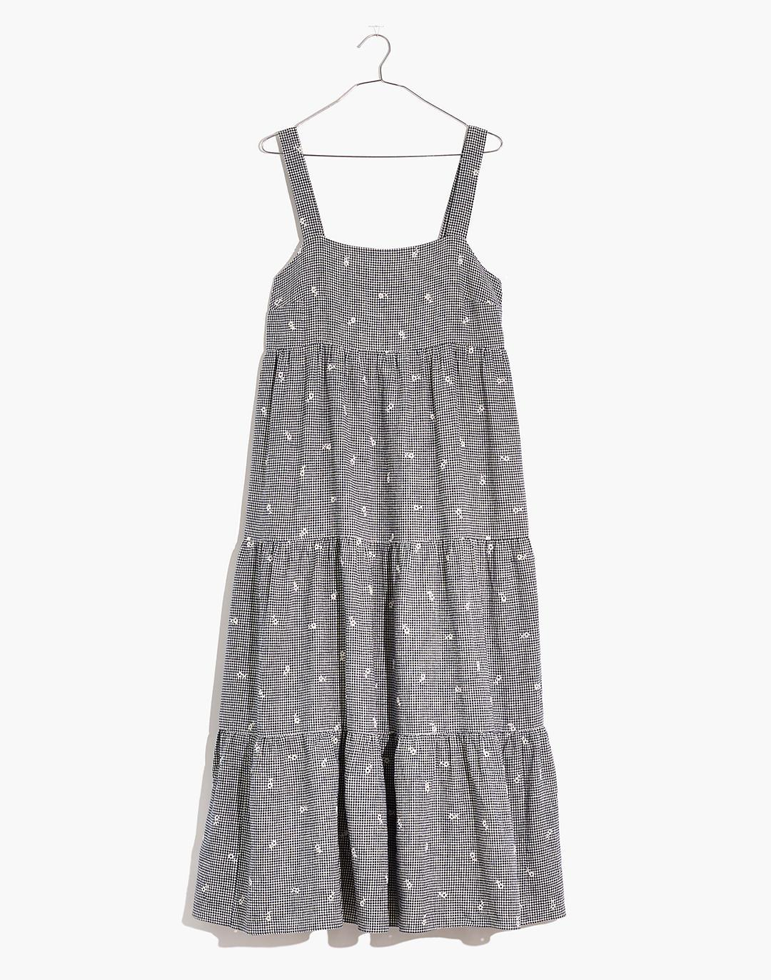 Petite Embroidered Tiered Midi Dress in Gingham Check