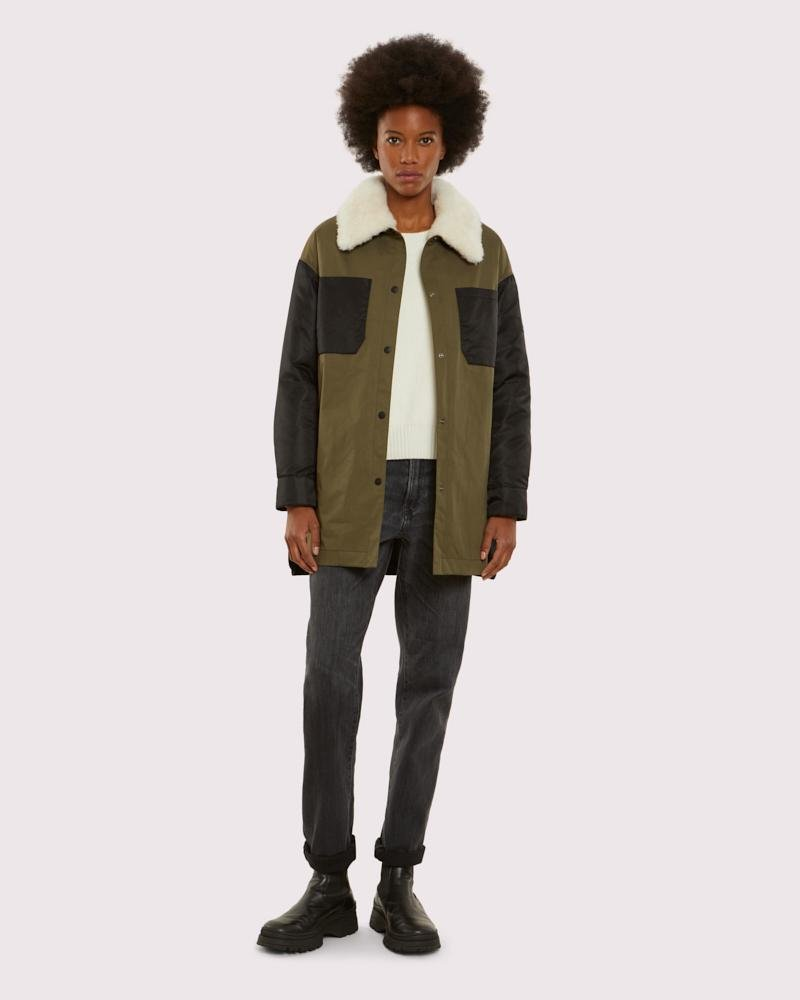 overshirt in technical cotton and shearling