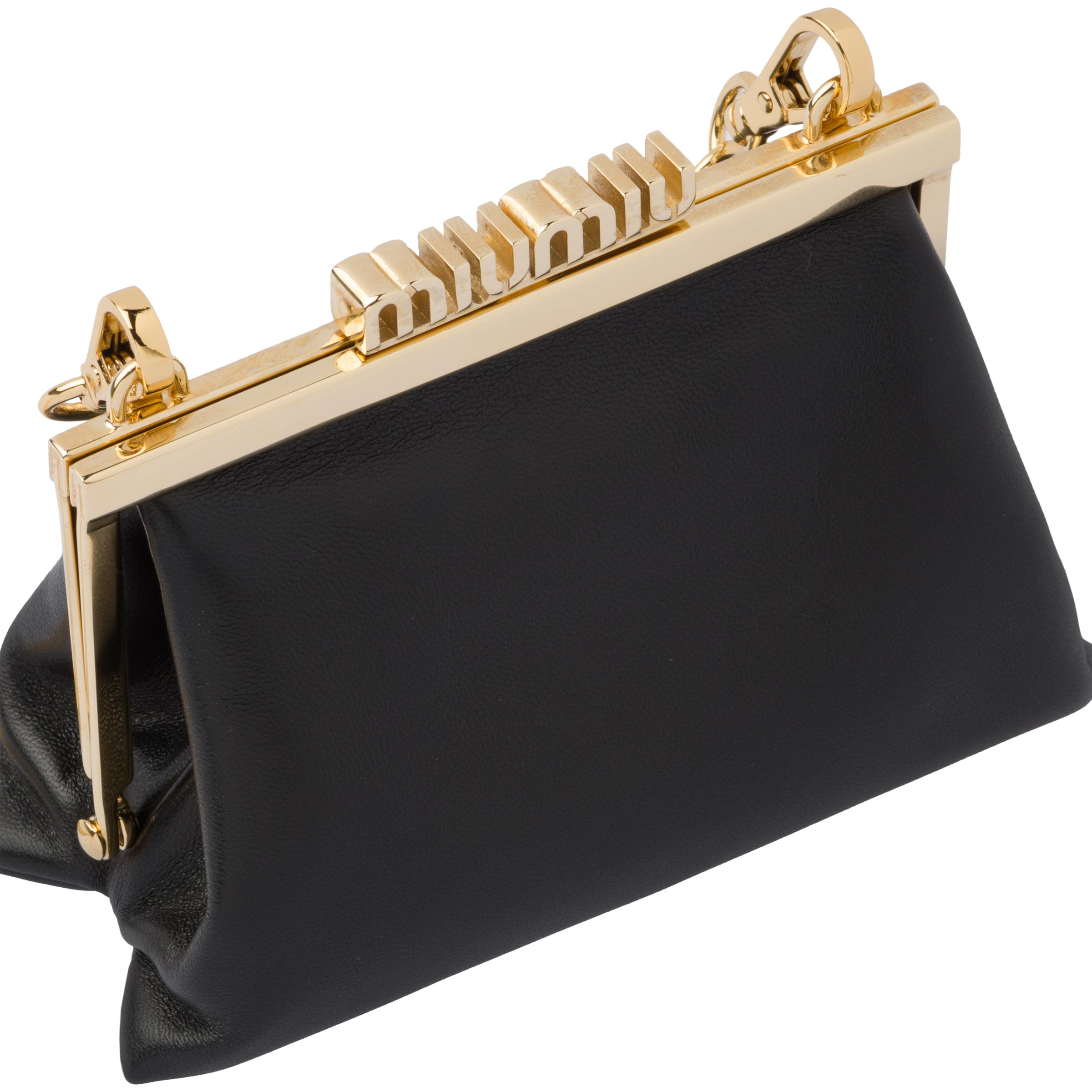 Nappa Leather Wallet With Shoulder Strap Women Black 4