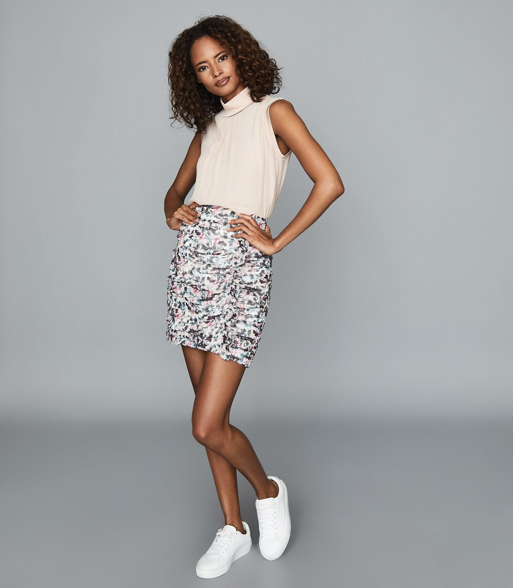 LUCIELLE - FLORAL PRINT RUCHED MINI SKIRT