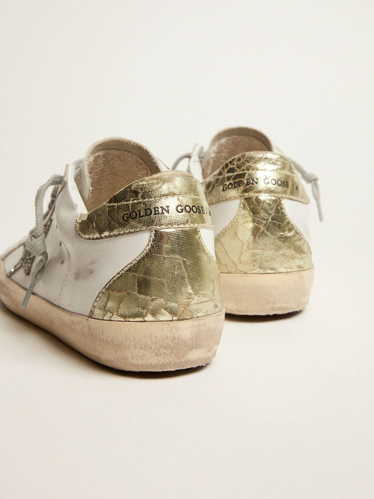 Super-Star sneakers with silver glitter star and glossy gold leather heel tab 3