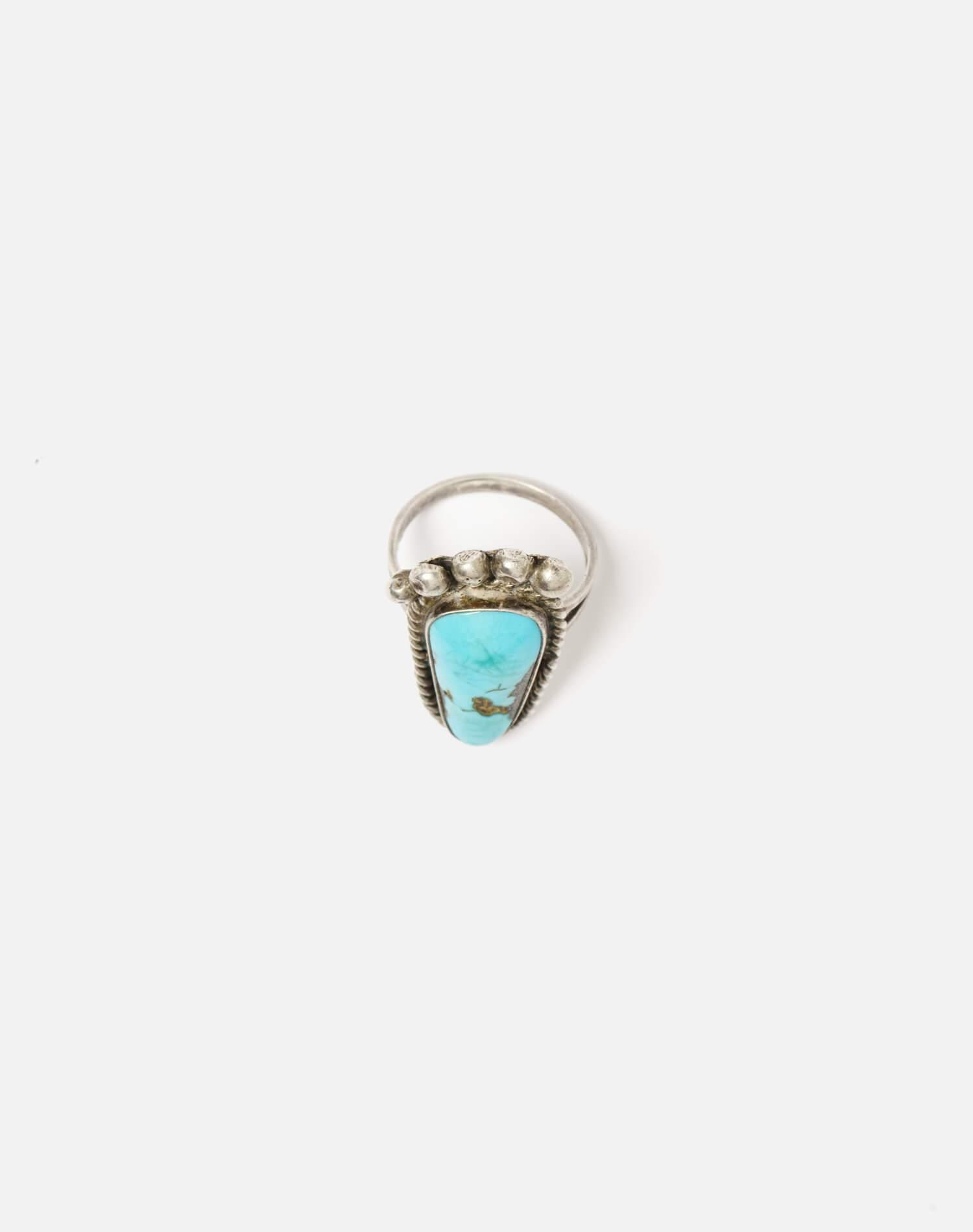 1960s Navajo Sterling Turquoise Foot Ring - #93 3