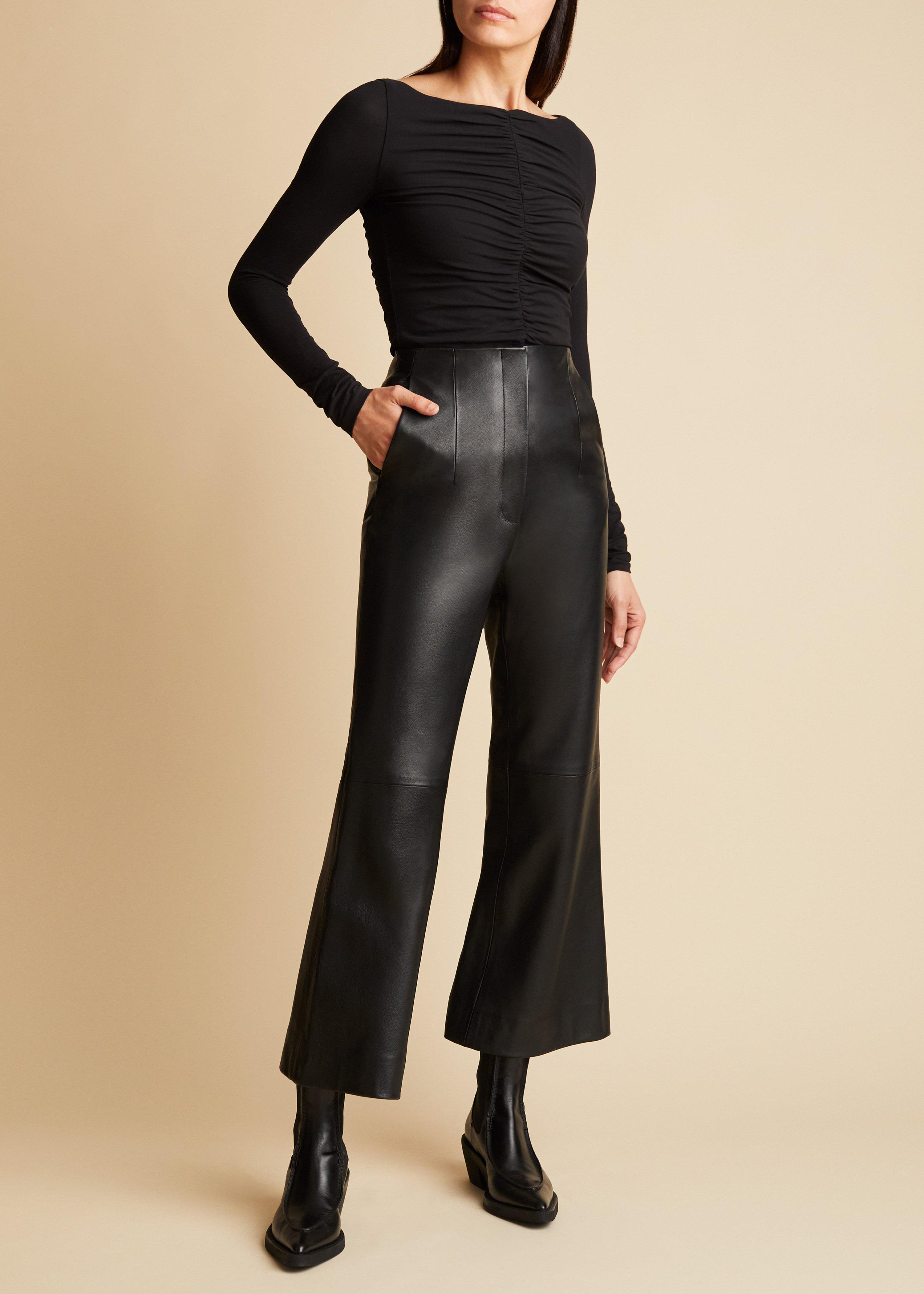 The Haley Pant in Black Leather