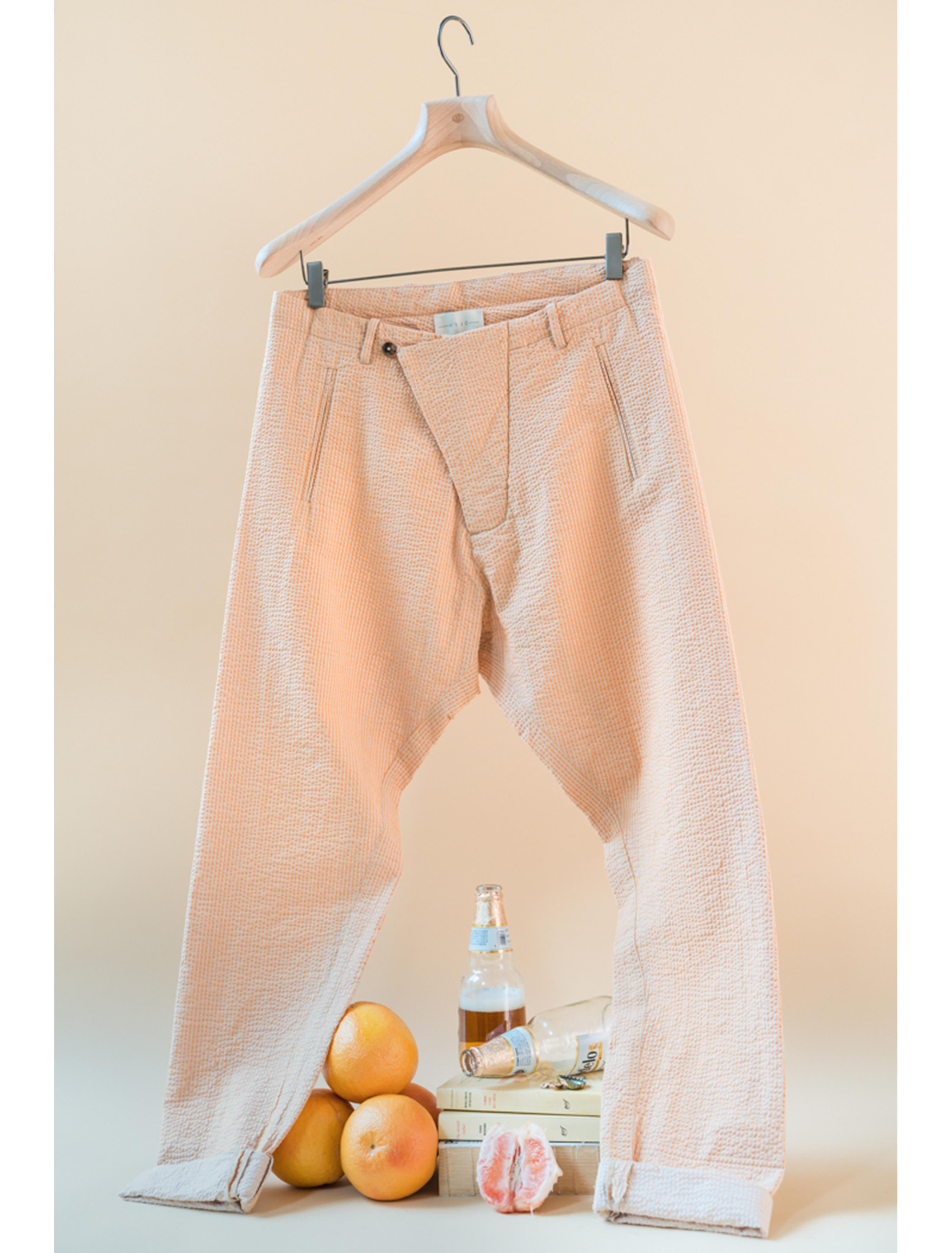 THE TEO DROP CROTCH CRINKLED COTTON PANTS