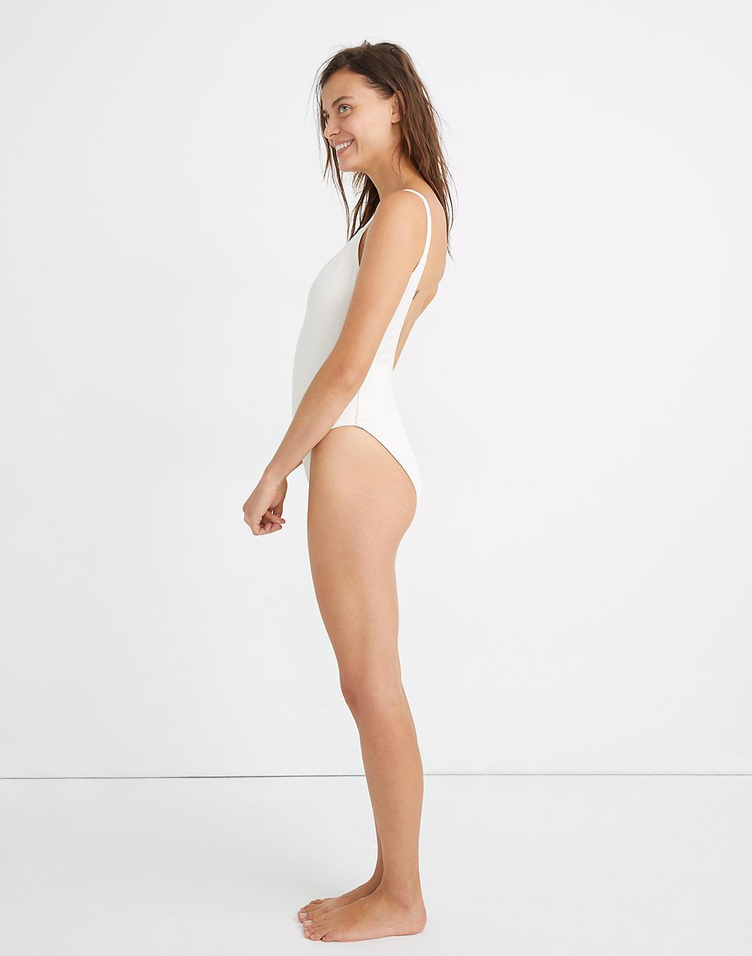 Madewell Second Wave Ribbed Low-V One-Piece Swimsuit 1
