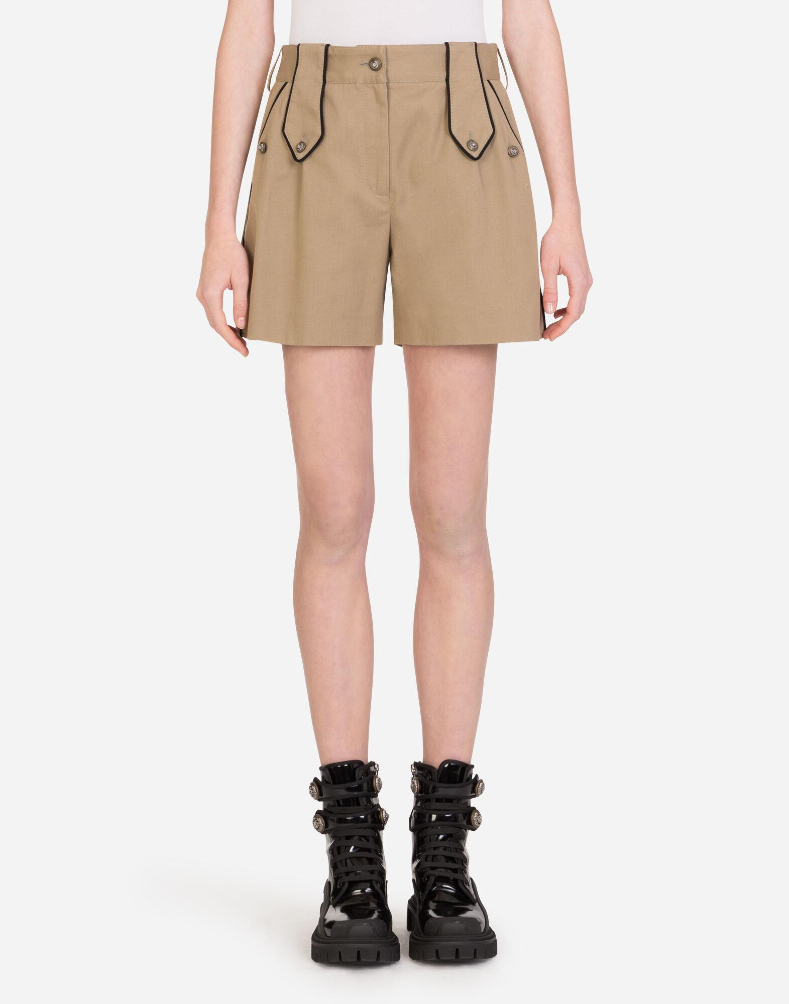 Drill shorts with military details