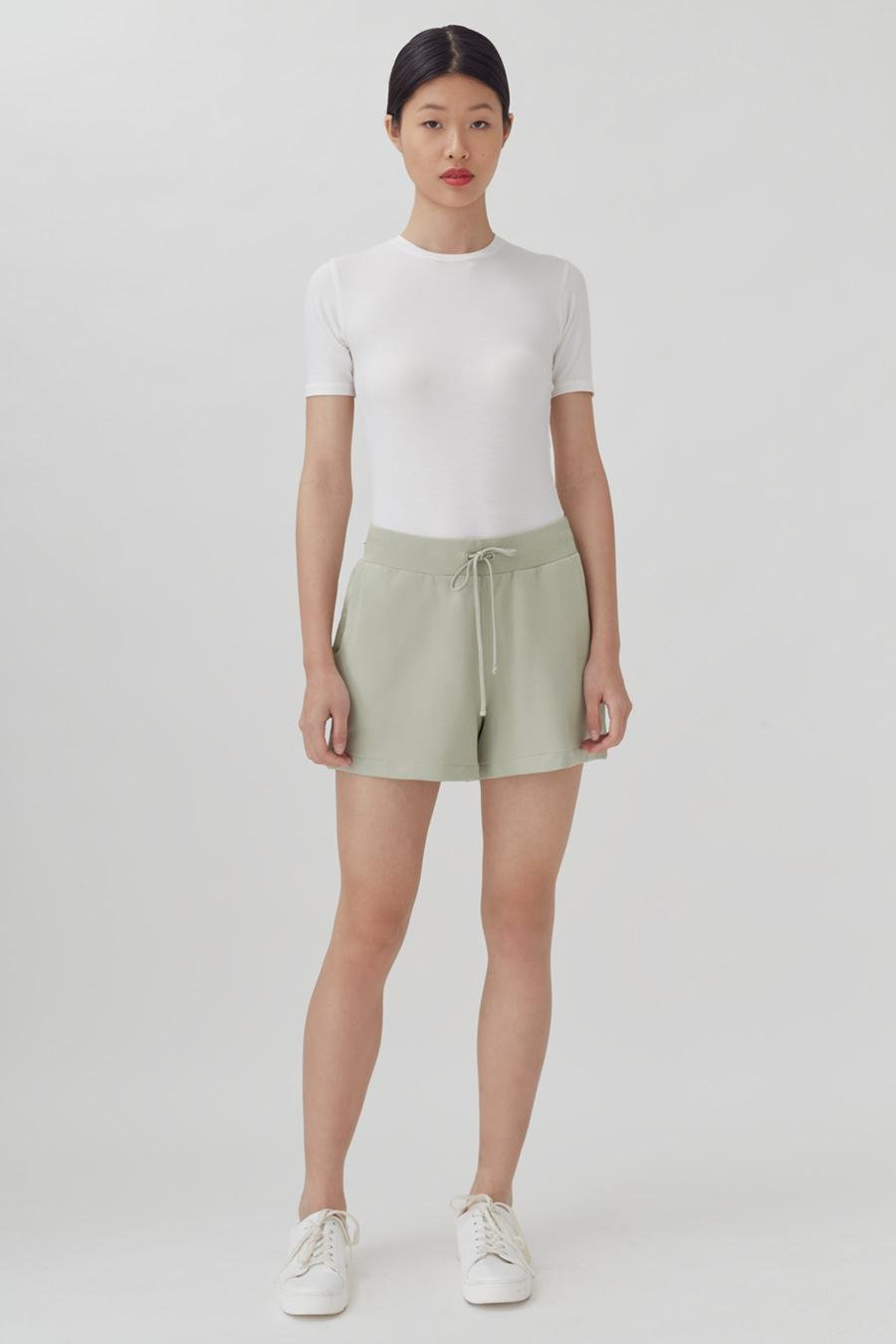 Women's French Terry Shorts in Sage | Size: 1