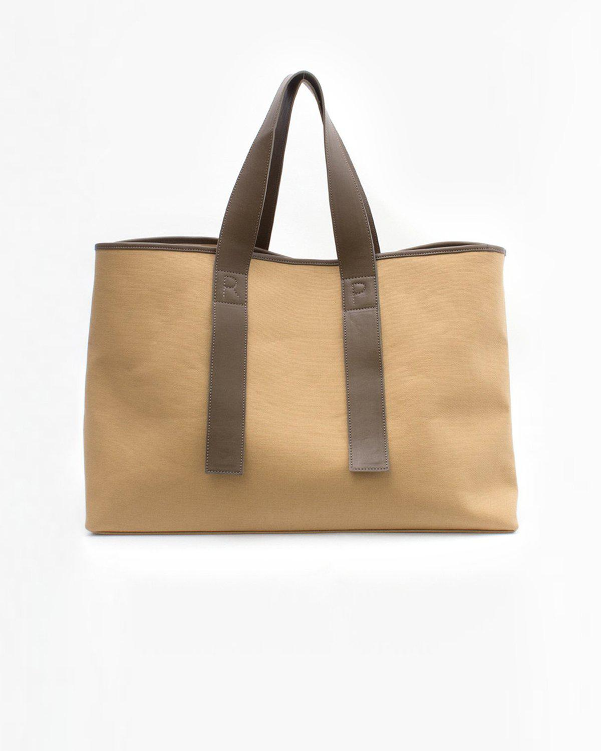 Carter Tote Canvas Beige Body + Faux Leather Brown Strap
