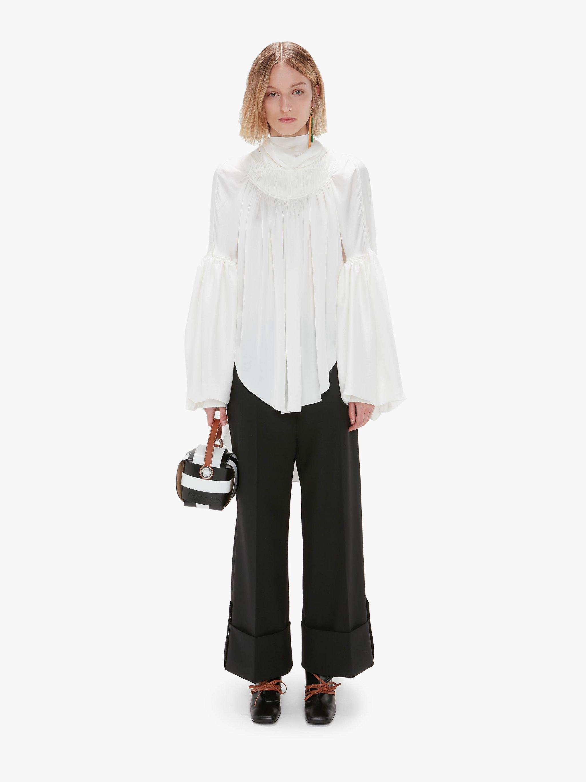 GATHERED COWL NECK BLOUSE