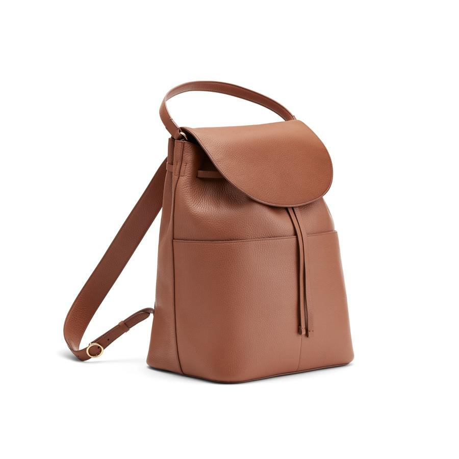 Women's Large Leather Backpack in Caramel | Pebbled Leather by Cuyana