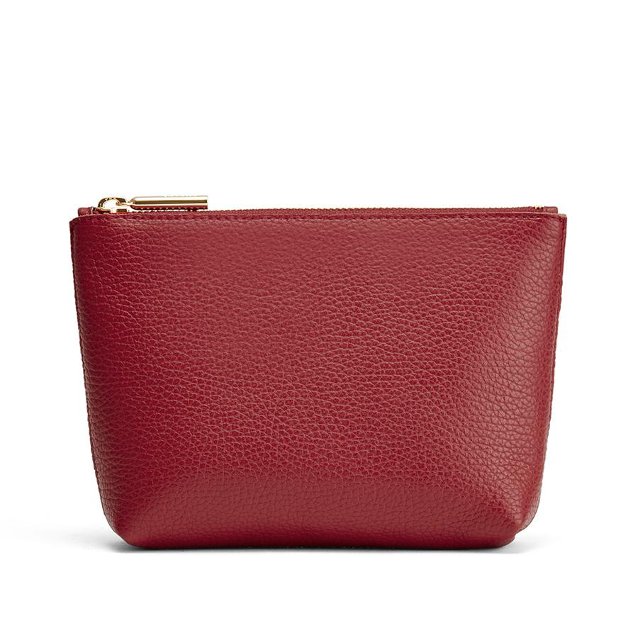 Women's Mini Leather Zipper Pouch in Ruby | Pebbled Leather by Cuyana