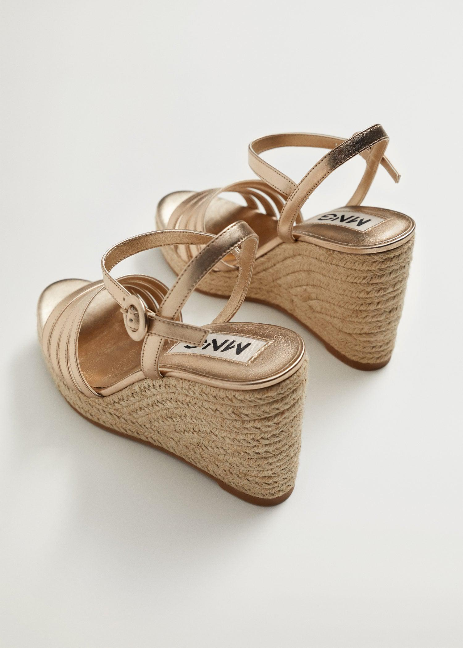 Metallic wedge sandals with straps 2