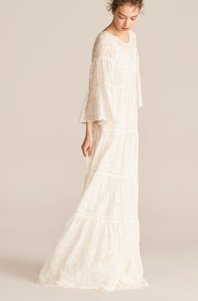 TALLULAH EMBROIDERY RUCHED TIER DRESS