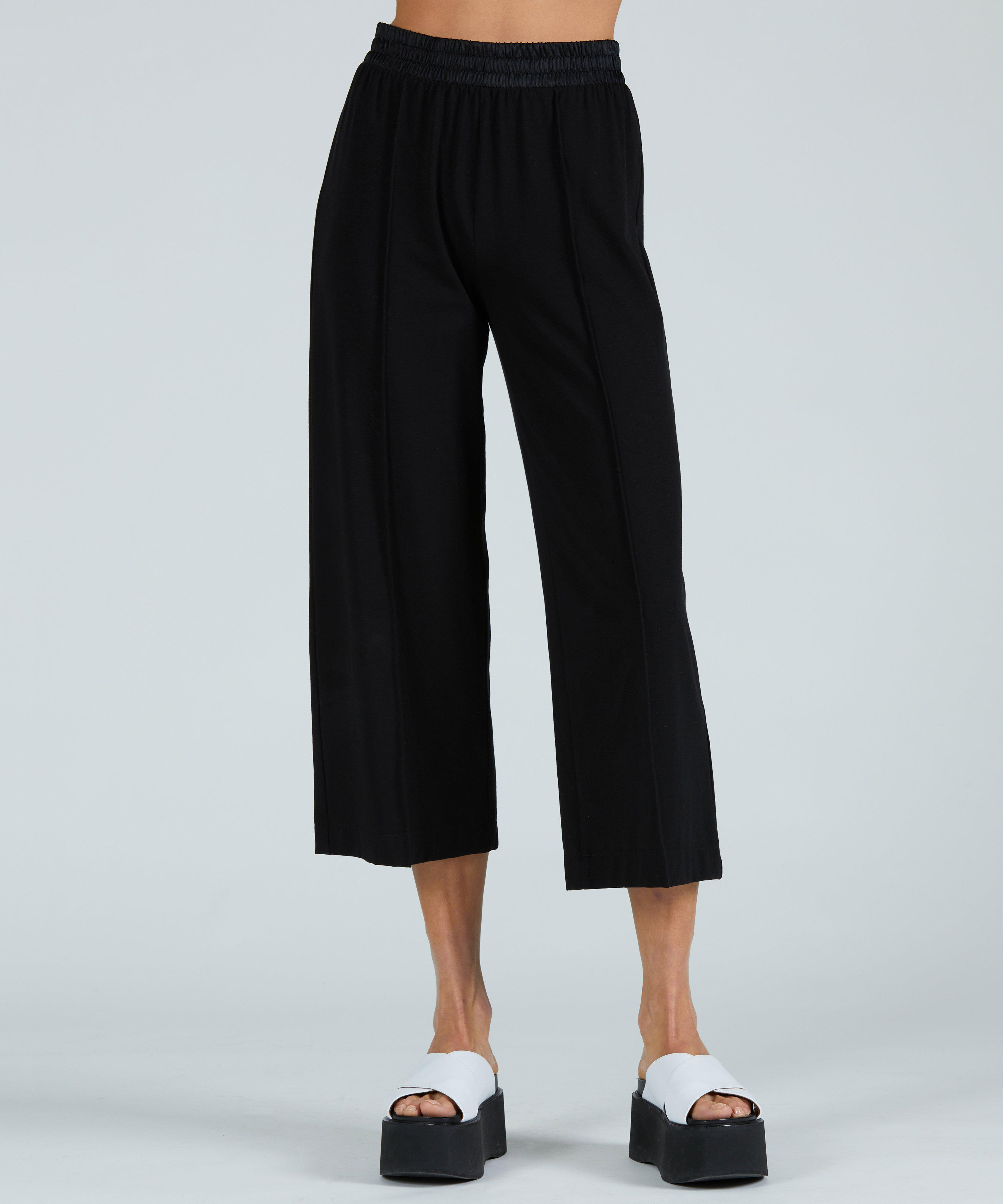 Pima Cotton Cropped Pull-On Pant - Black