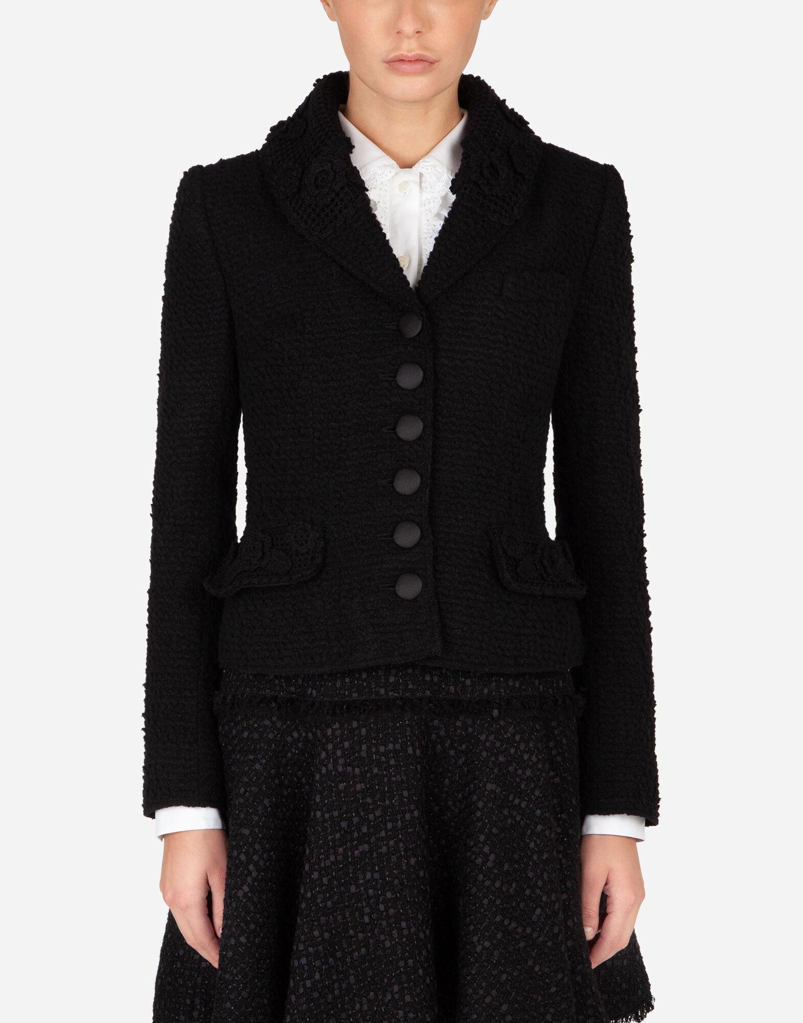 Short single-breasted bouclé Dolce jacket with floral embellishment