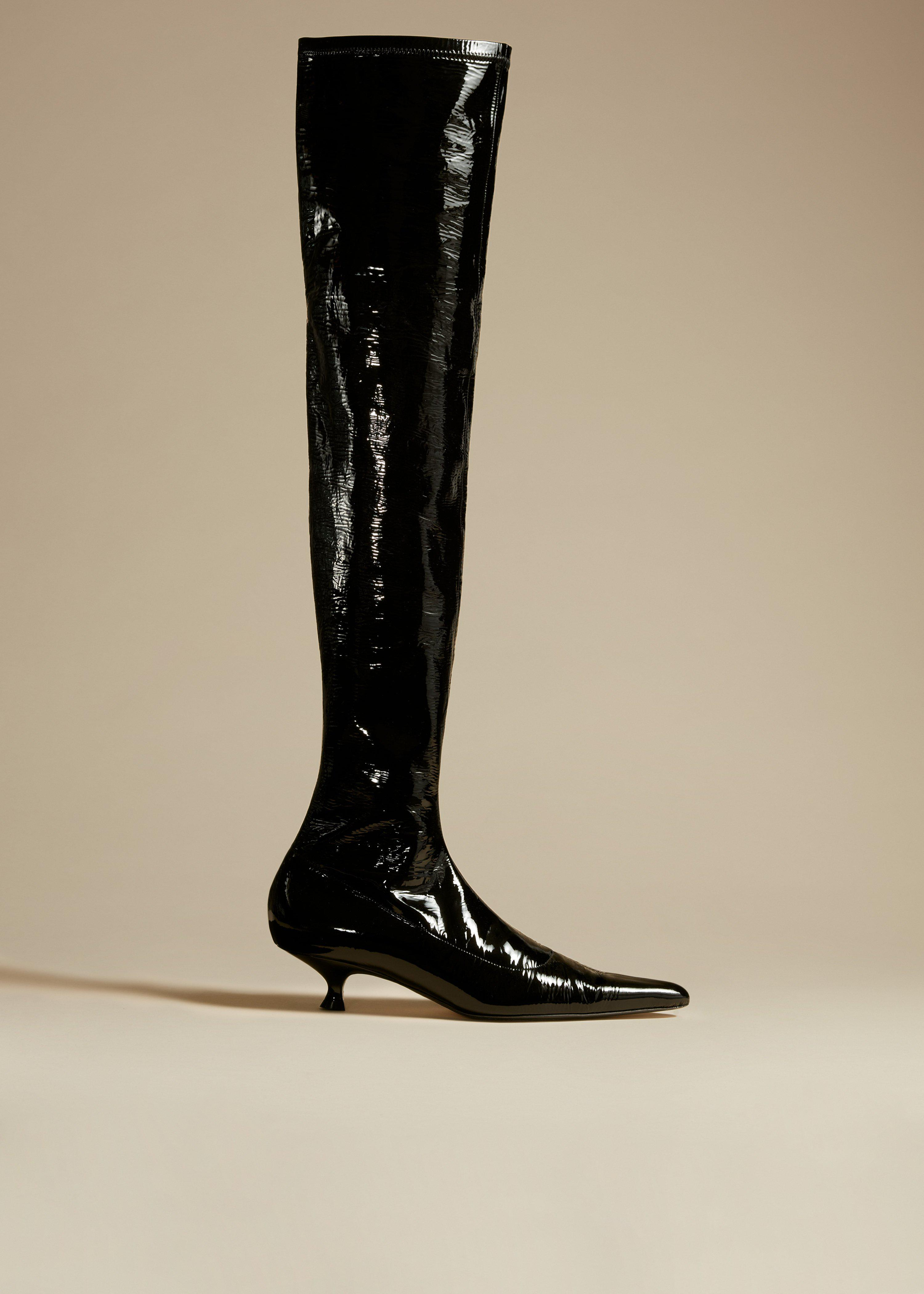 The Volos Over-the-Knee Boot in Black Patent Leather