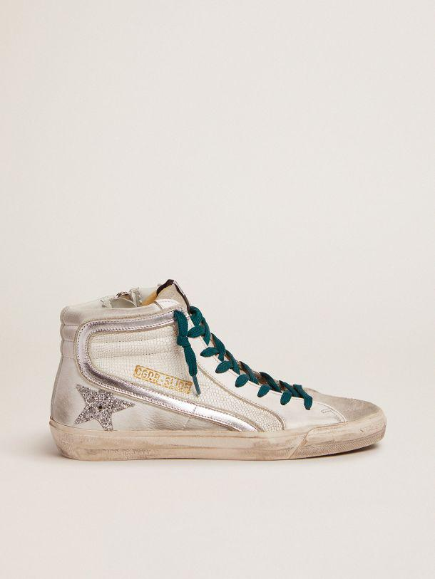 Slide sneakers with snake-print leather upper and silver glitter star