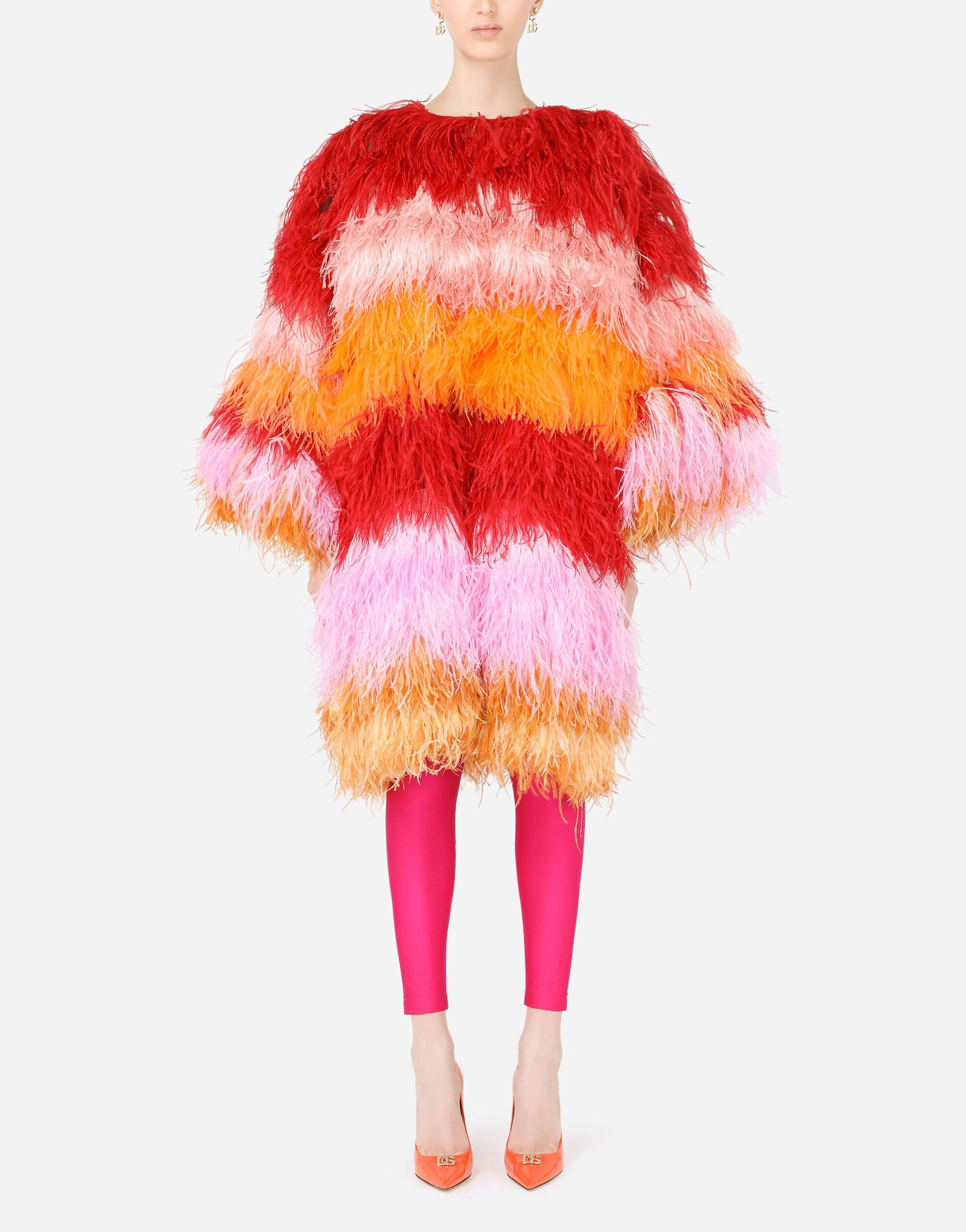 Multi-colored ostrich feather coat