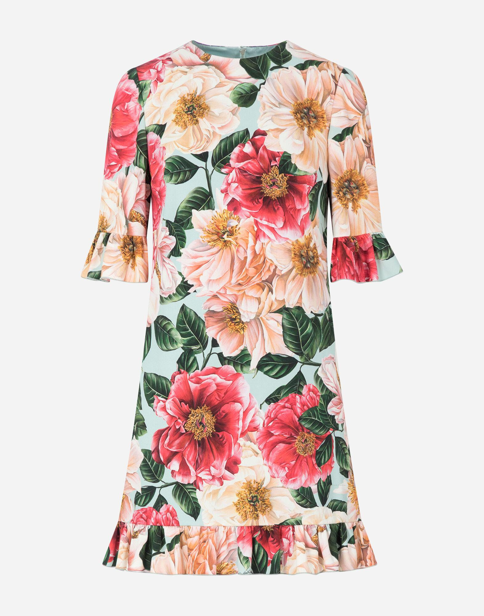 Short camellia-print cady dress with ruffle detailing 3