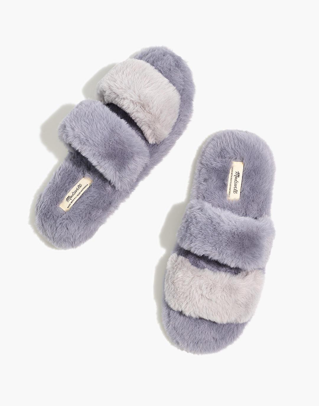 Two-Strap Scuff Slippers in Recycled Faux Fur