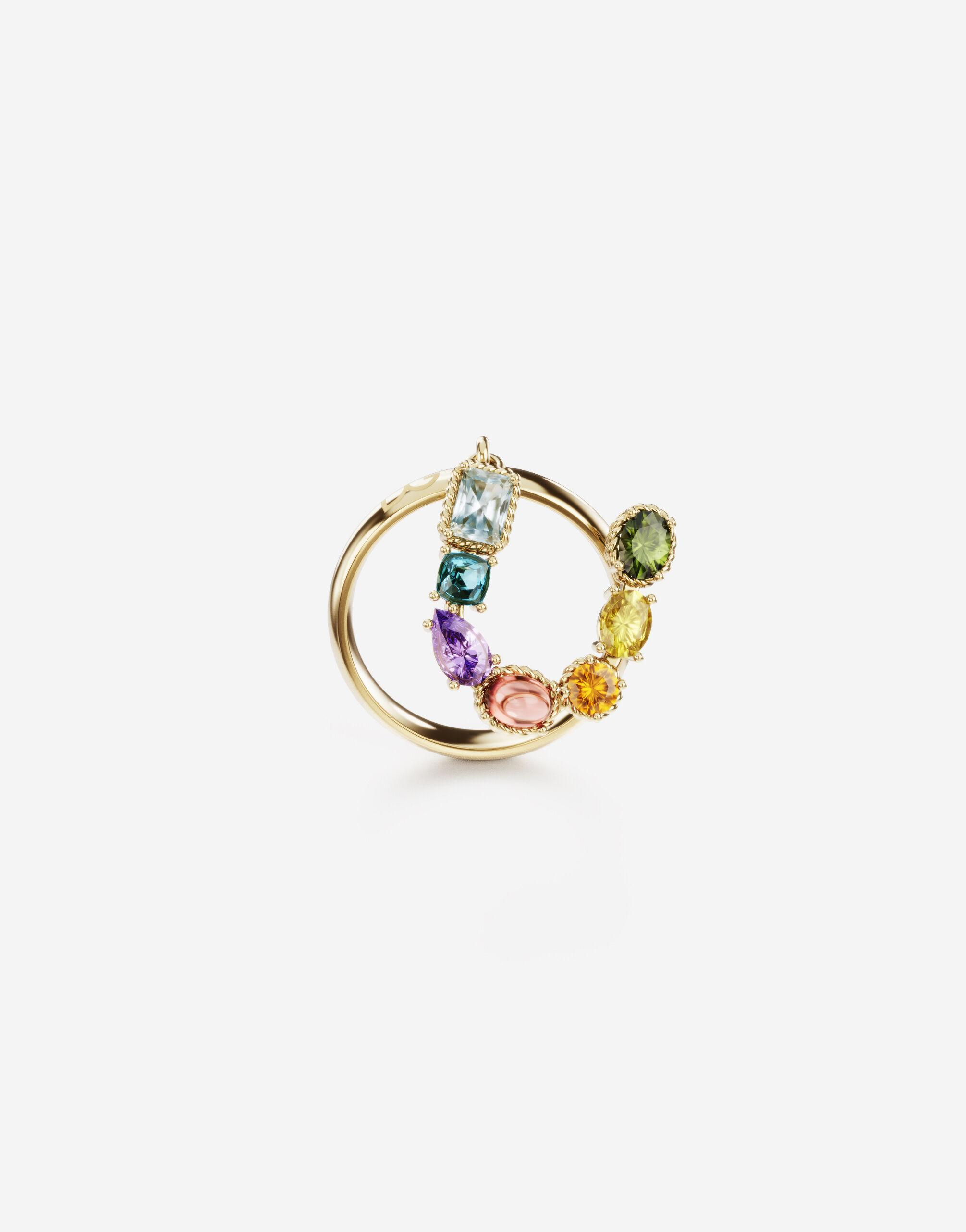 Rainbow alphabet U ring in yellow gold with multicolor fine gems