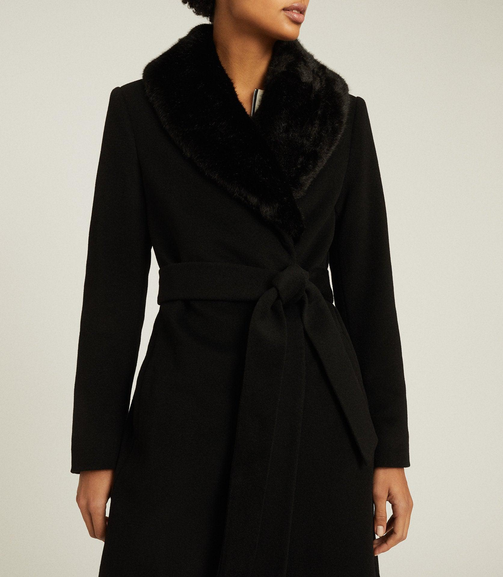 PACEY - FAUX FUR SHAWL COLLAR OVERCOAT 2