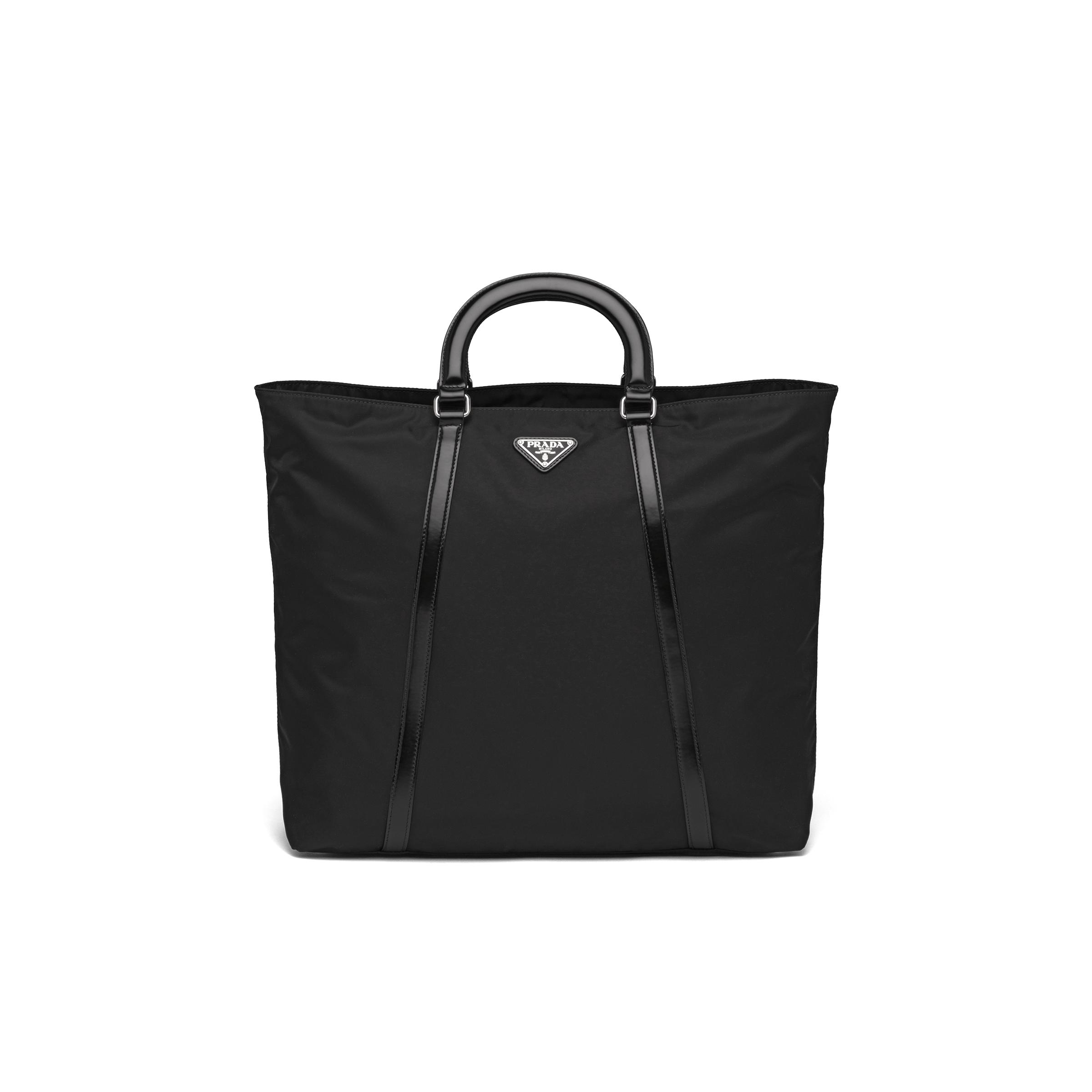 Large Nylon And Leather Tote Women Black