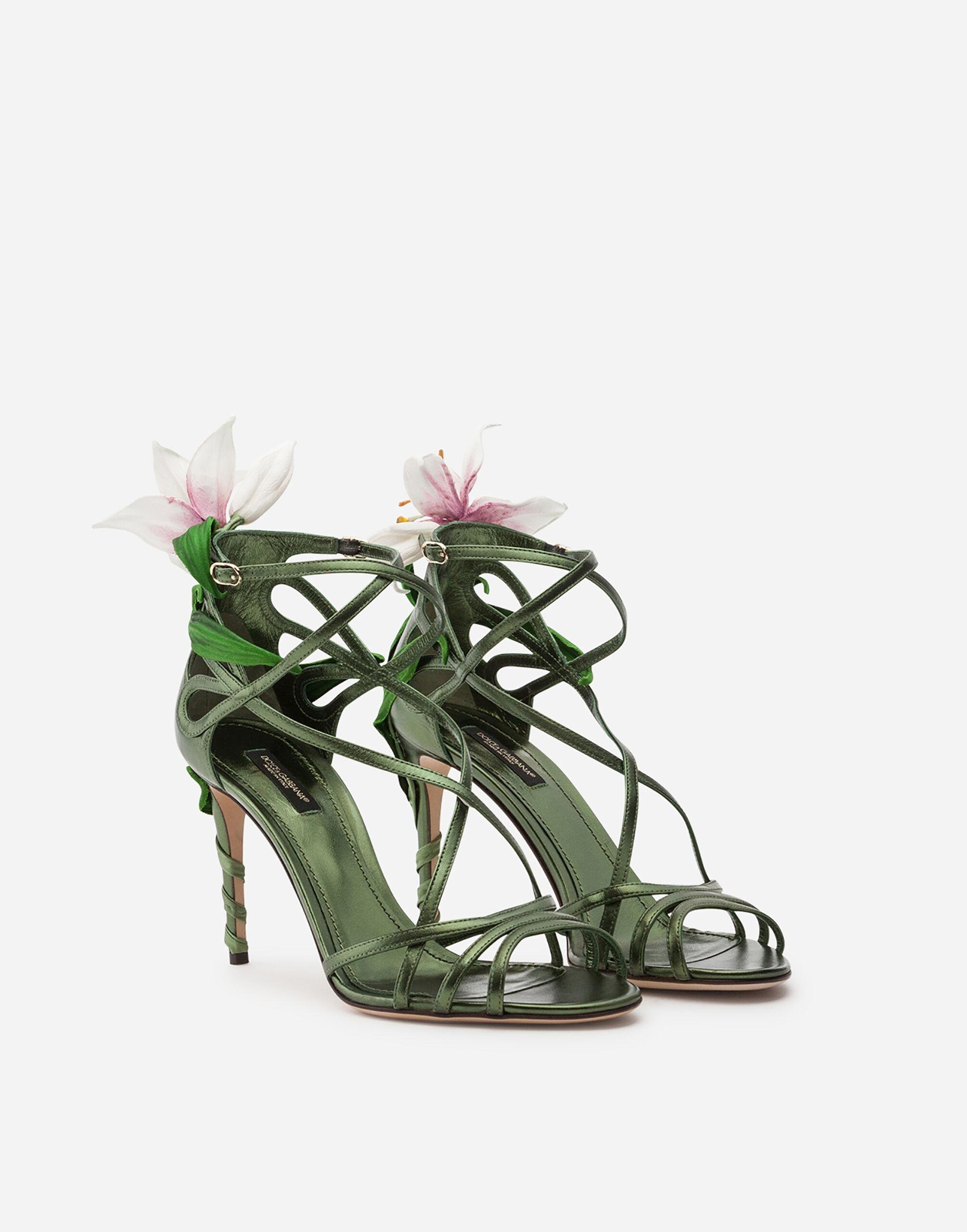 Mordore nappa sandals with lily embroidery 1