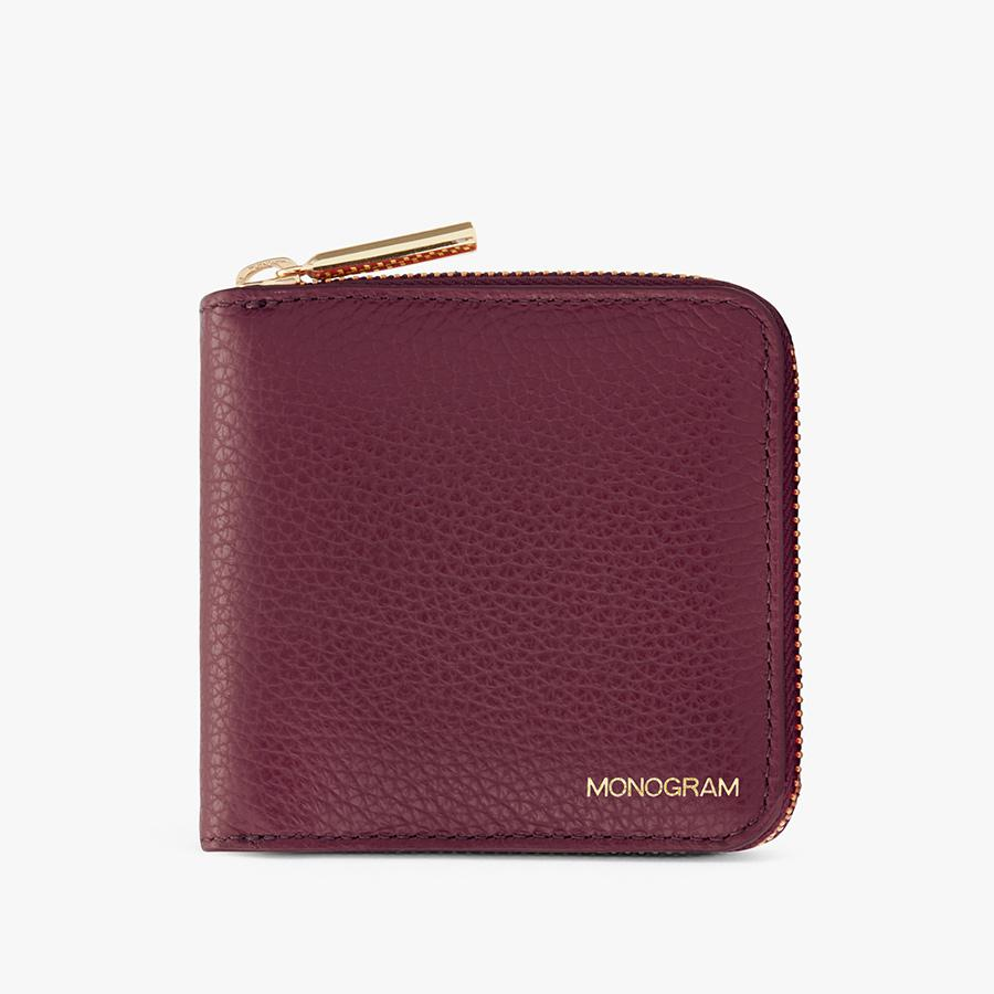 Women's Small Classic Zip Around Wallet in Merlot | Pebbled Leather by Cuyana 4