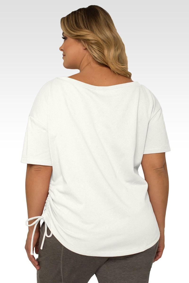 Nola Plus Size Boat Neck French Terry Cream Ruched Tee