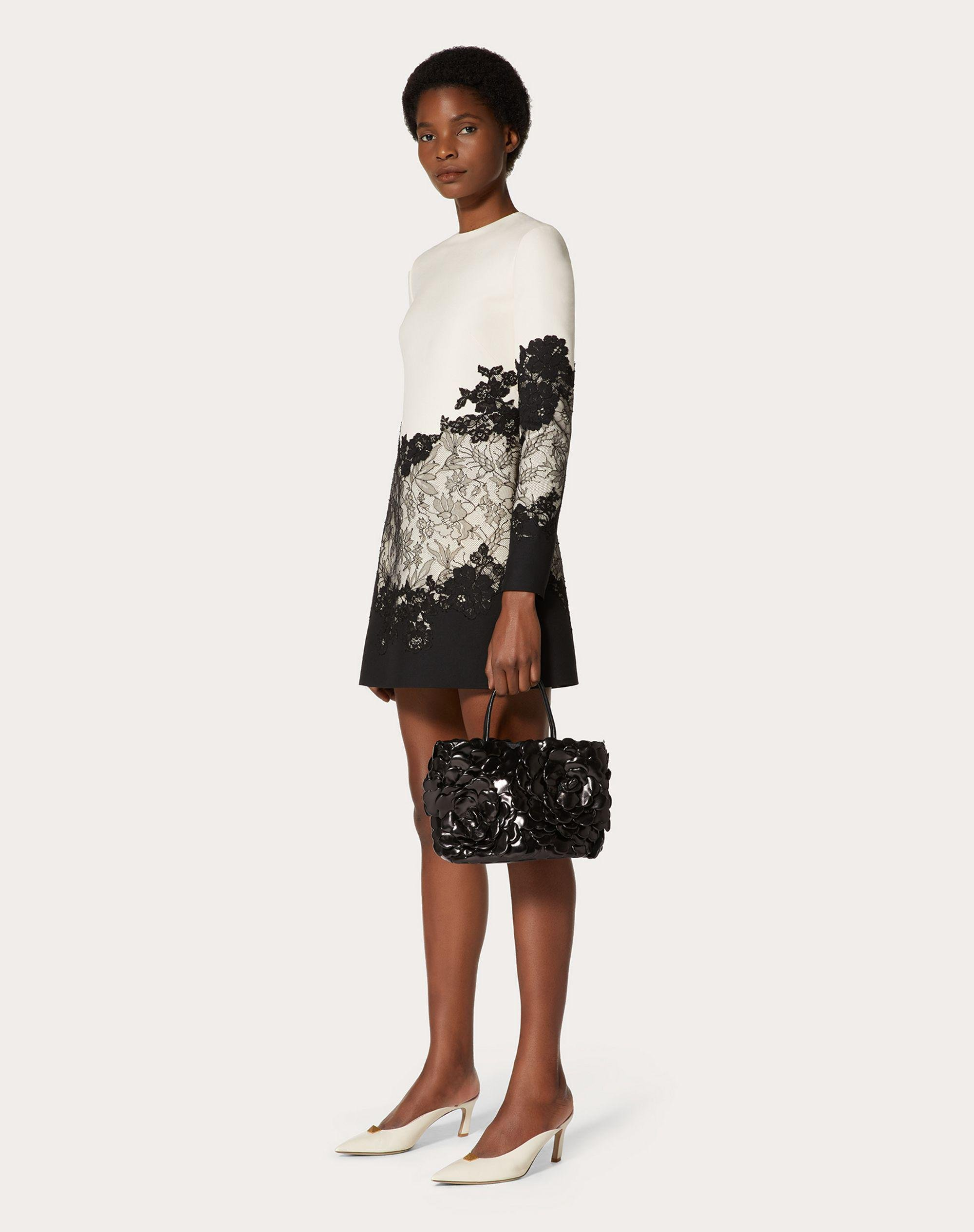 SHORT CREPE COUTURE AND LACE DRESS