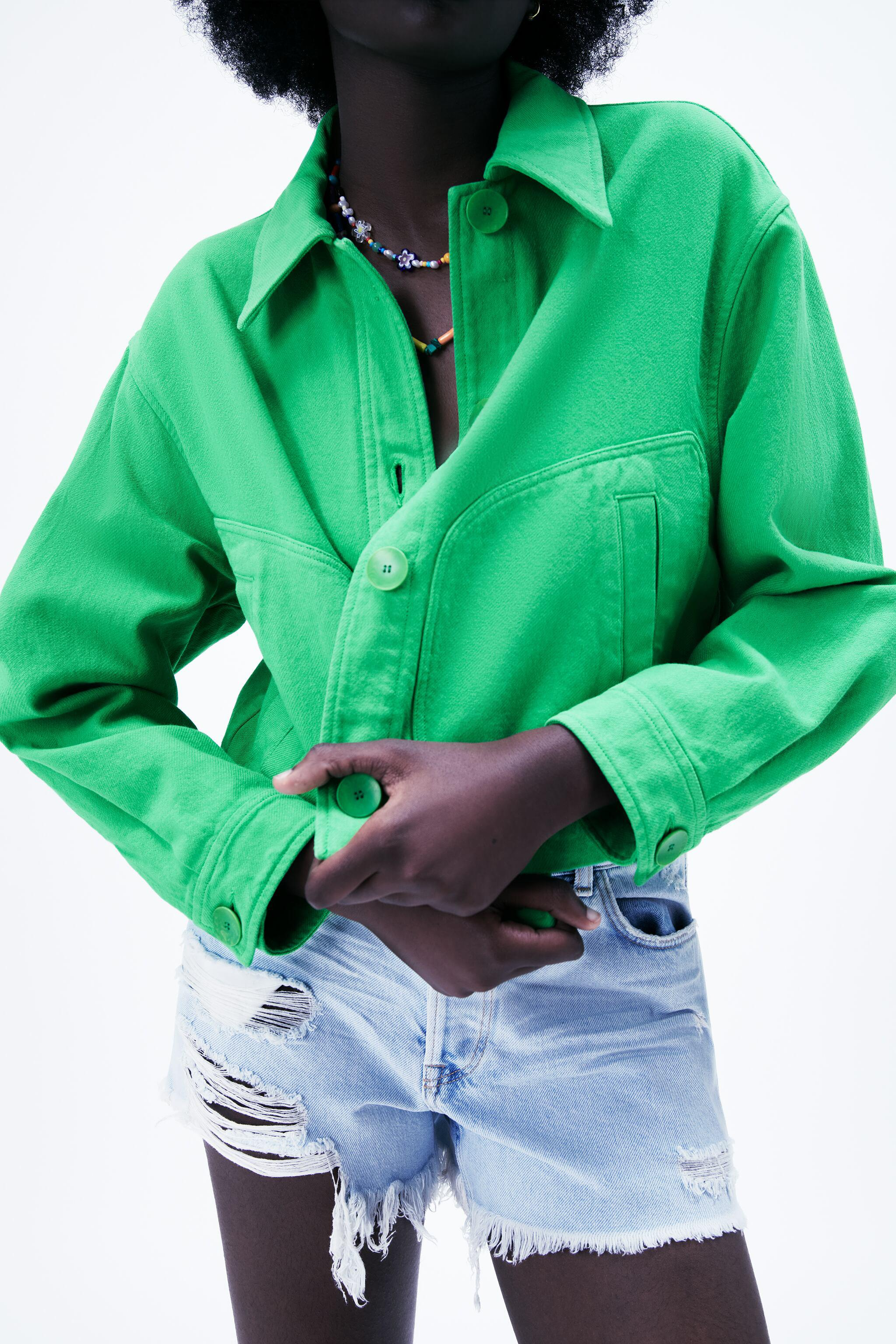 SOLID COLOR CROPPED JACKET 1
