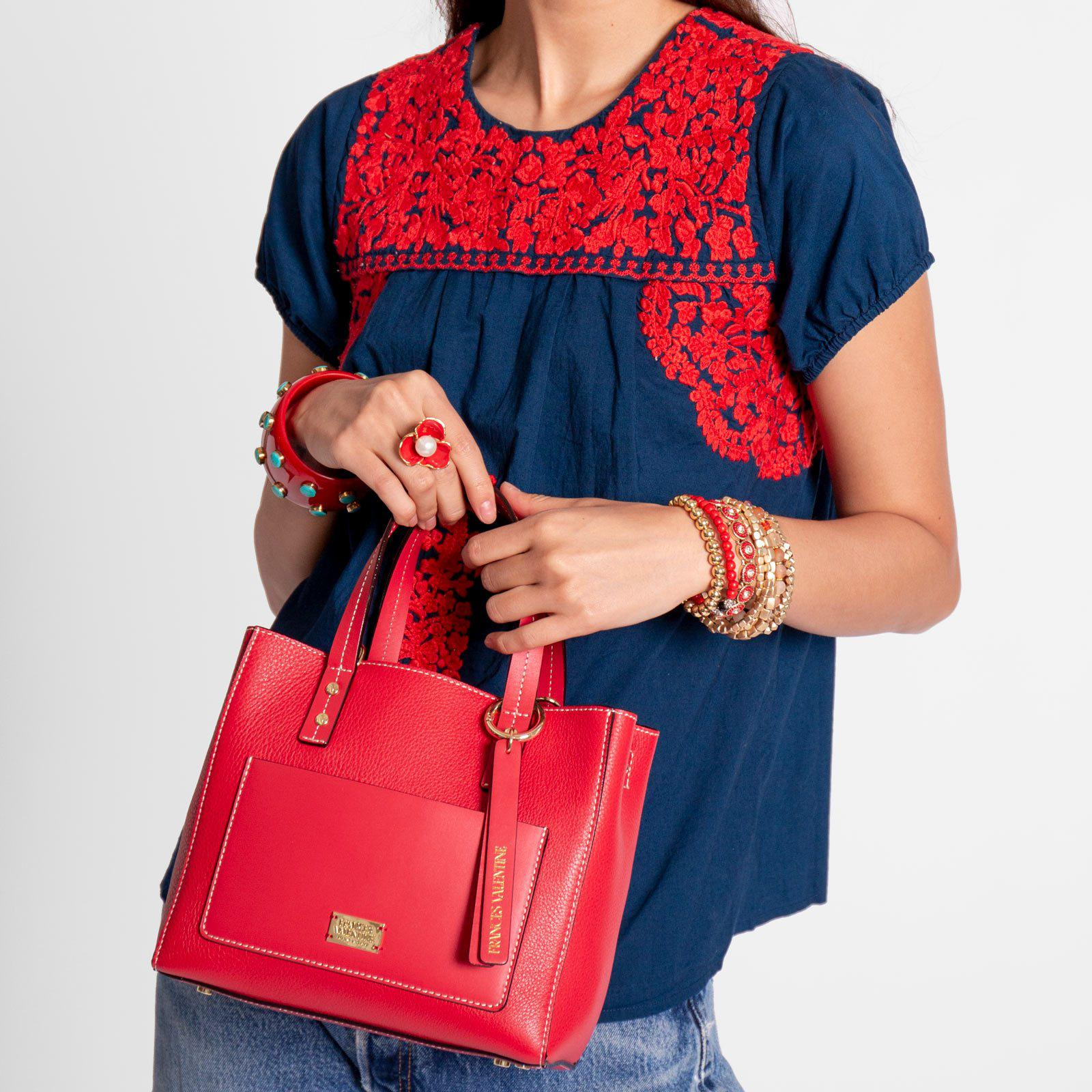 Small Chloe Tumbled Leather Red 5
