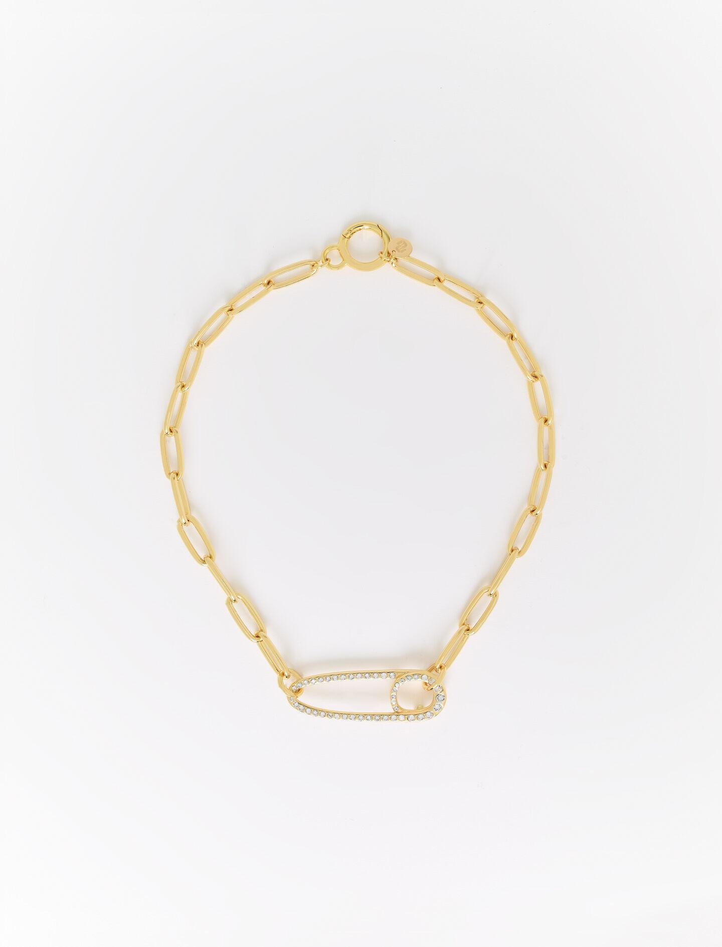 CHUNKY CHAIN SAFETY PIN PENDANT NECKLACE