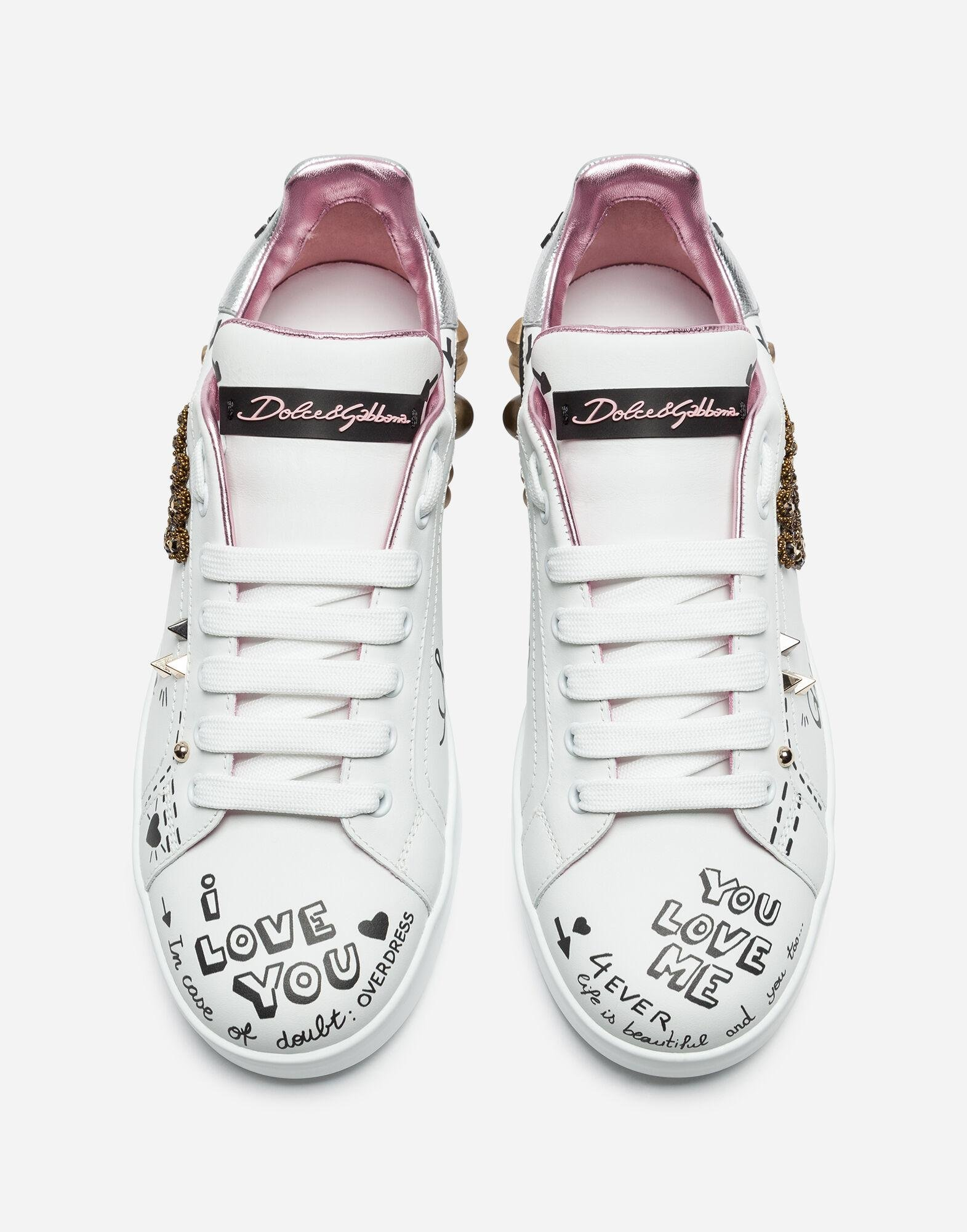 Printed calfskin Portofino sneakers with patch and embroidery 1