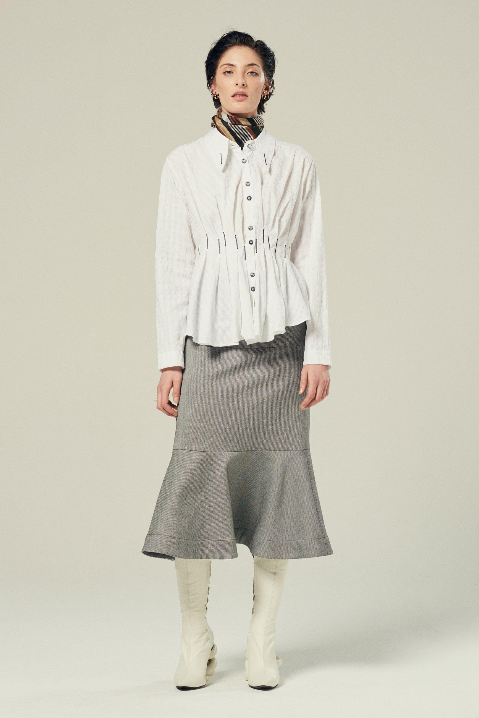 waisted pleated shirt in white textured cotton 1