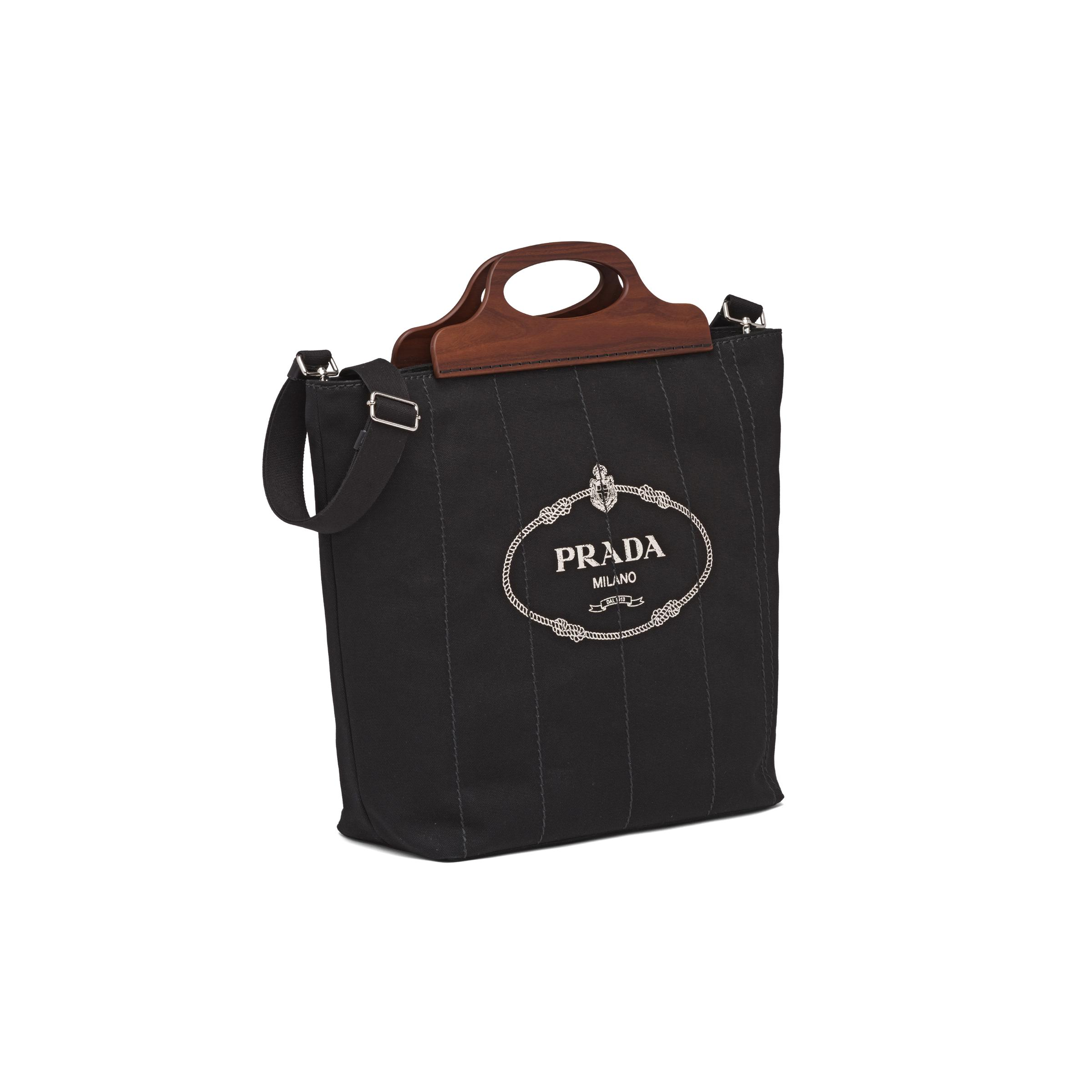 Medium Tote In Canvas And Wood Women Black 2
