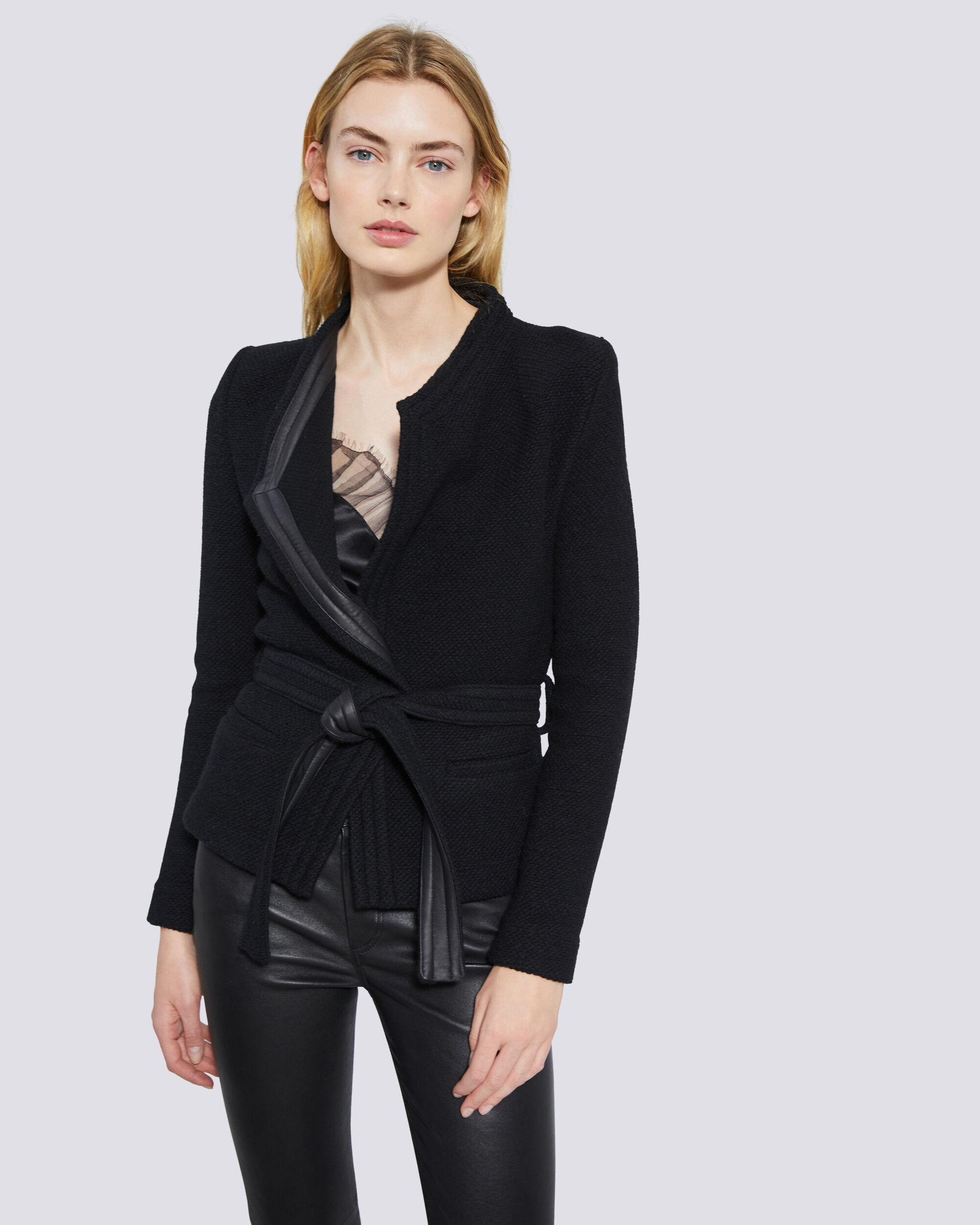 AWA LEATHER TRIMMED WOOL JACKET