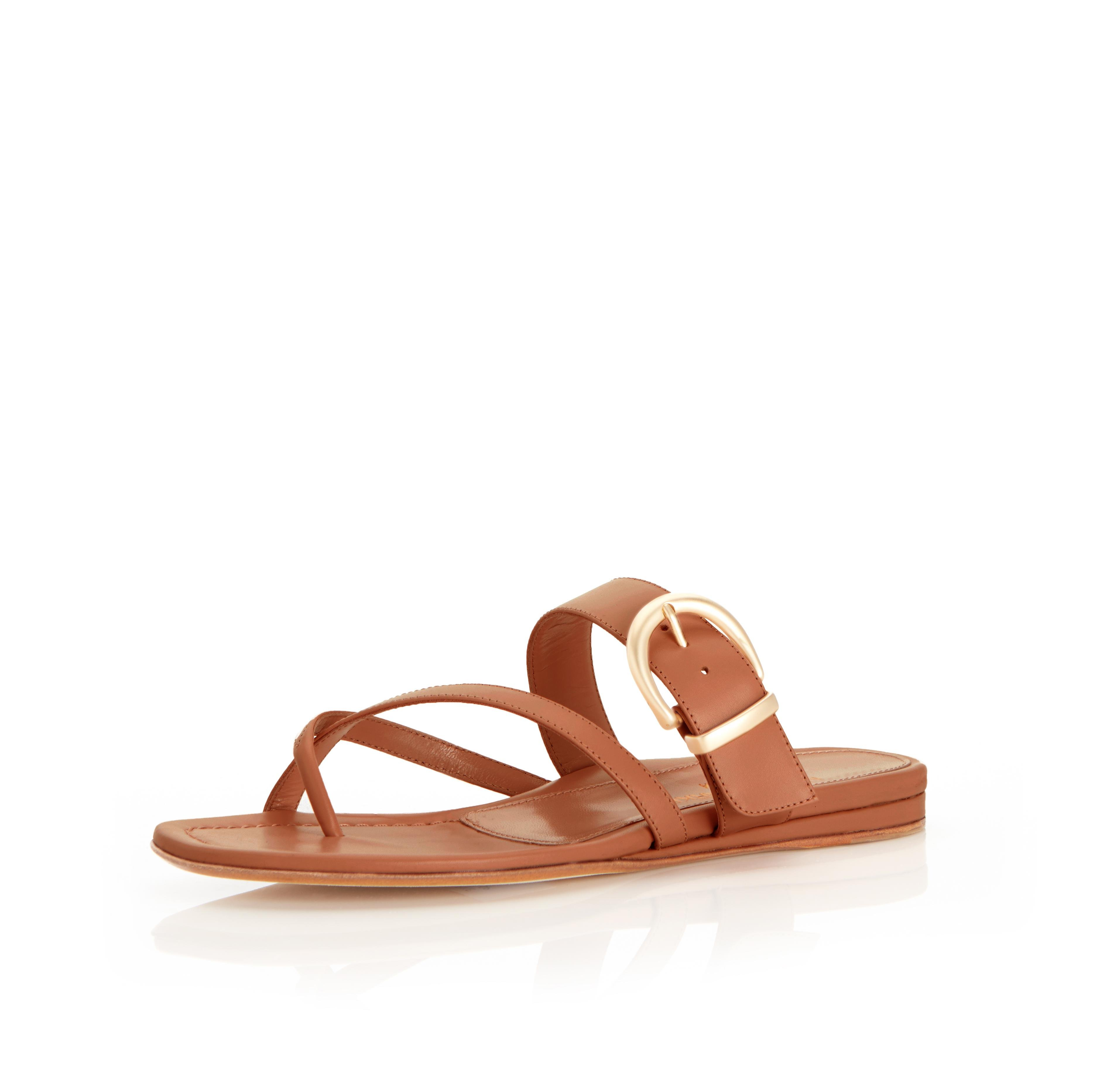 Hayley   Leather Thong Sandal With Metal Buckle Detail 1