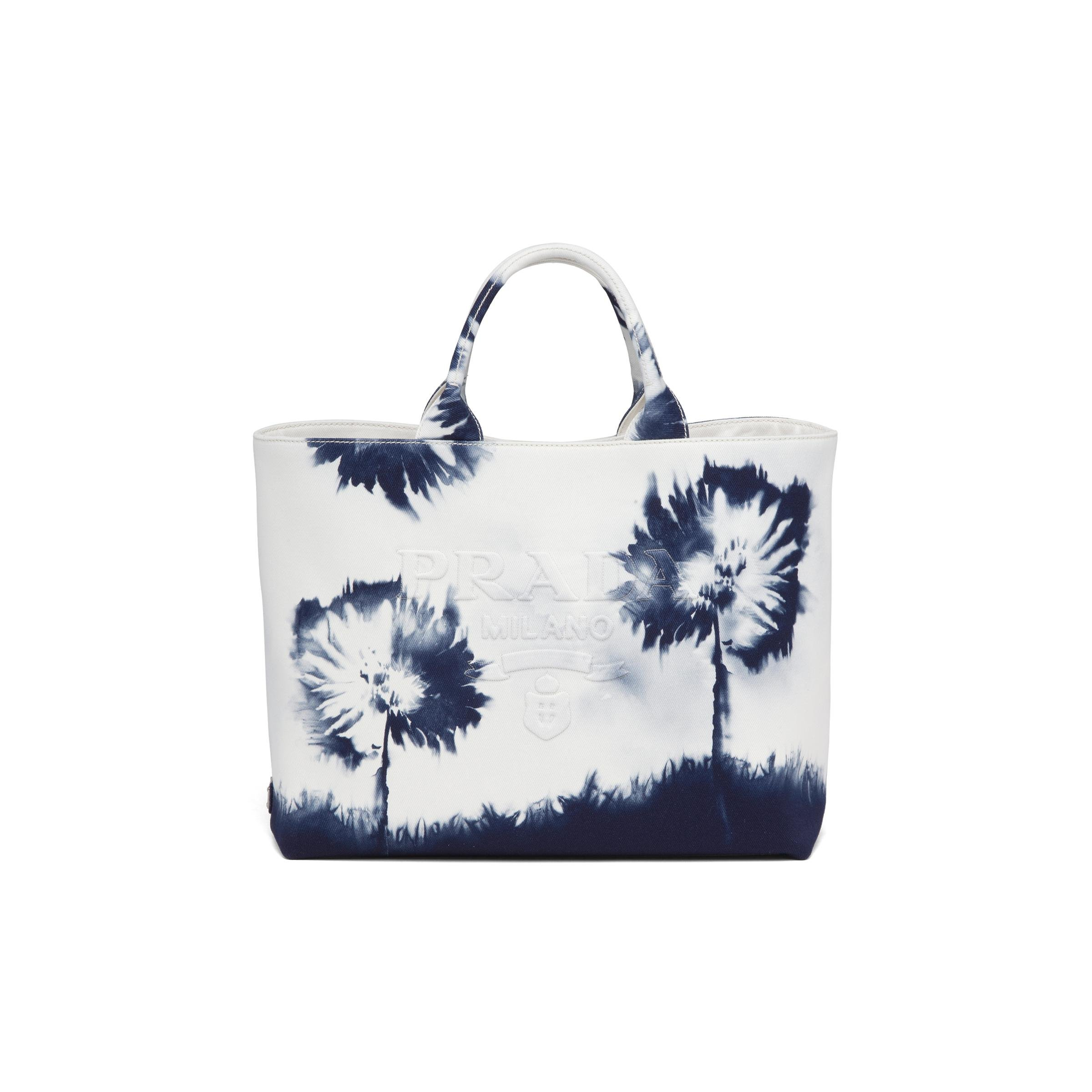 Printed Drill Tote Bag Women White/navy Blue