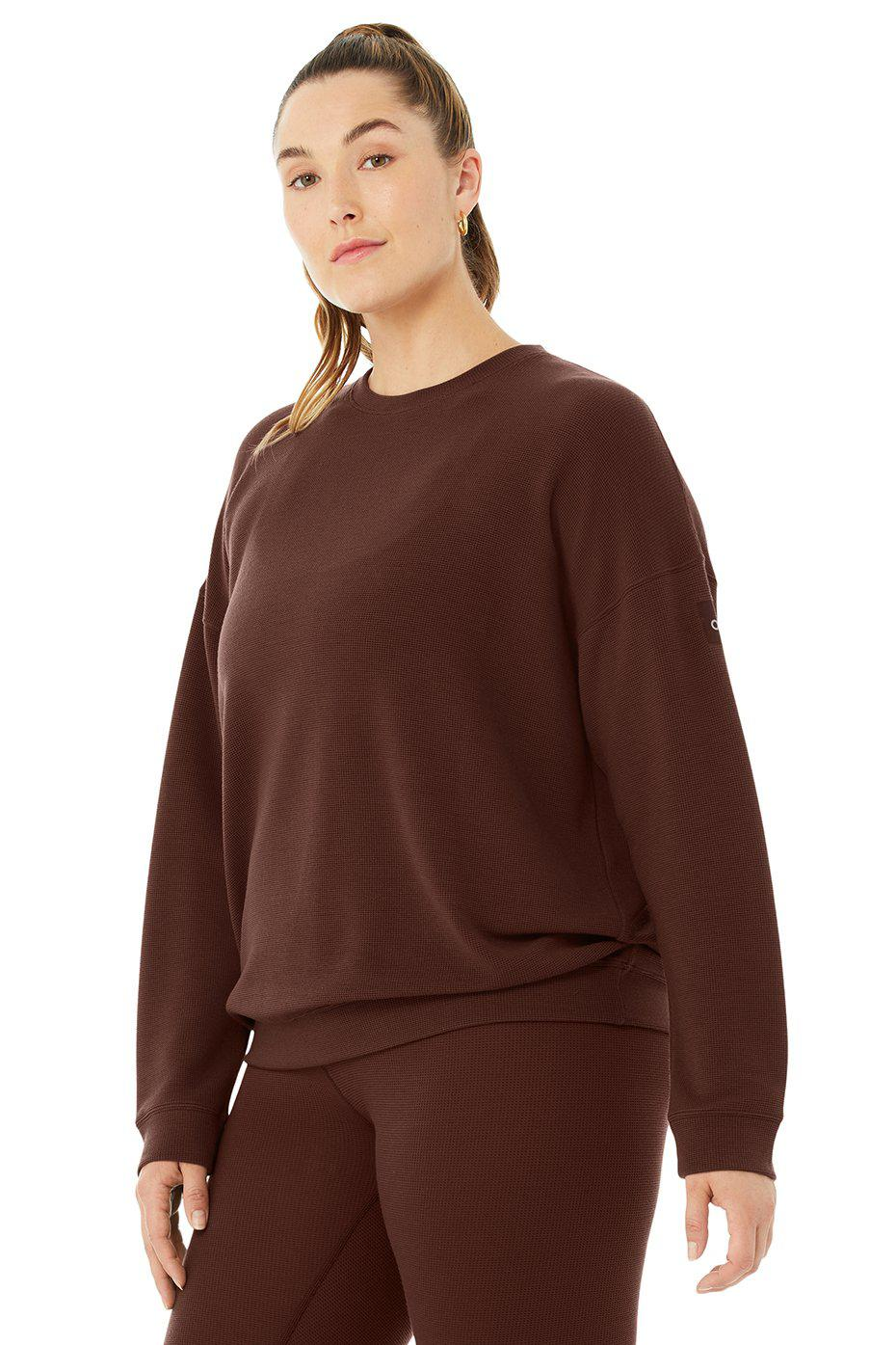 Micro Waffle Relaxation Pullover - Cherry Cola 4