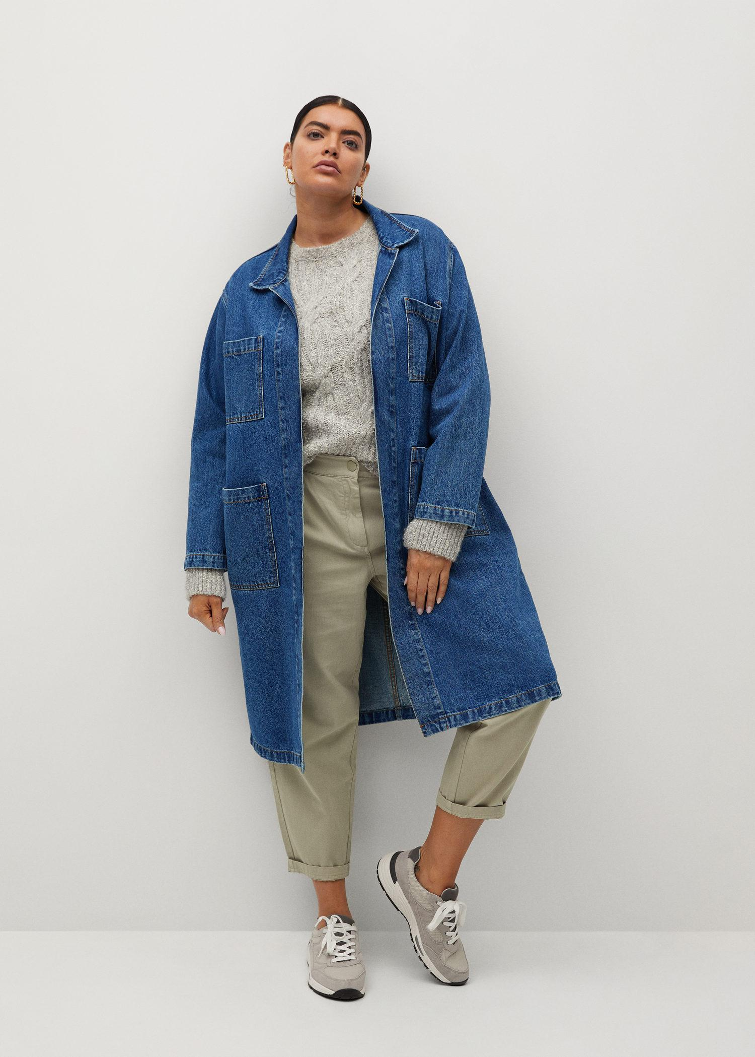 Denim trench coat with pockets